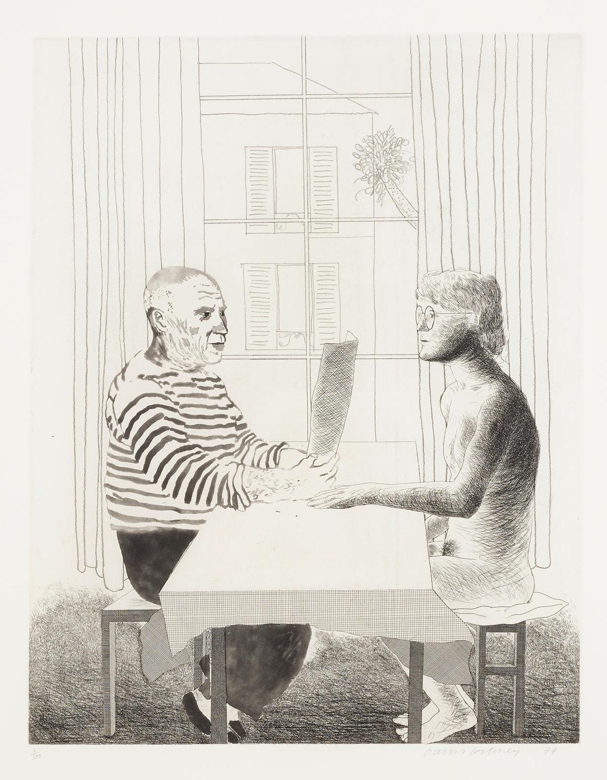 David Hockney-Artist And Model (S.A.C. 160; M.C.A.T. 152)-1974