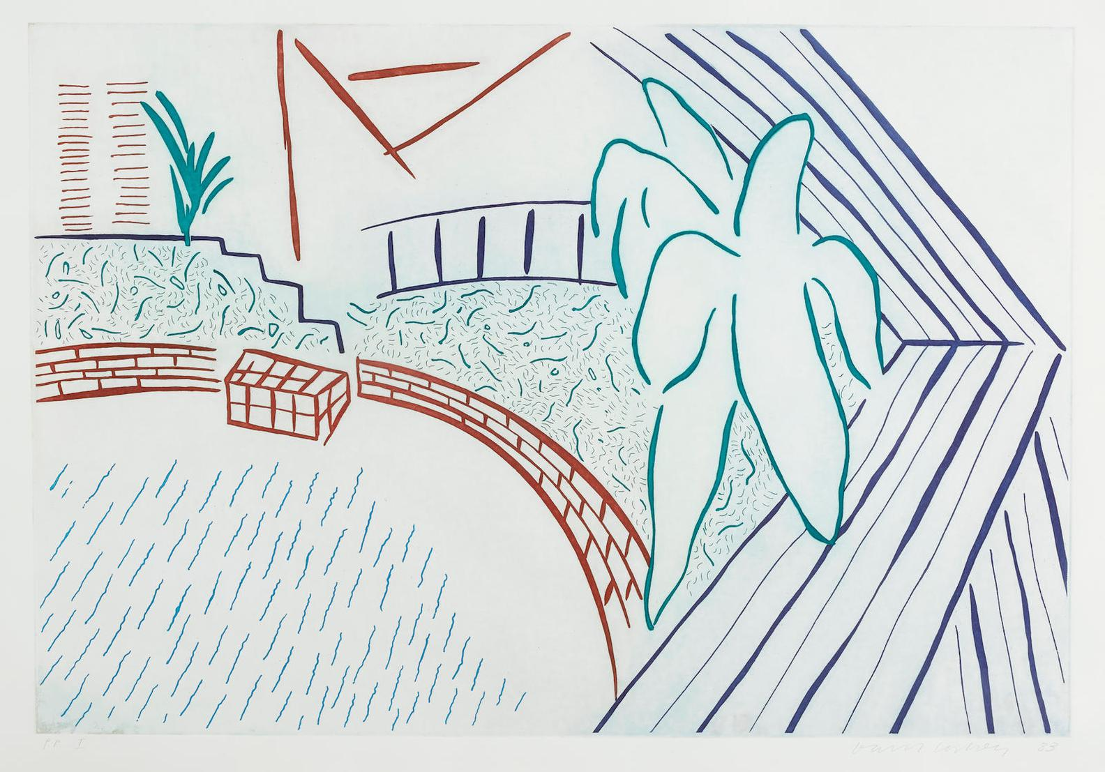David Hockney-My Pool And Terrace, From Eight By Eight To Celebrate The Temporary Contemporary (Not In M.C.A.T.)-1983