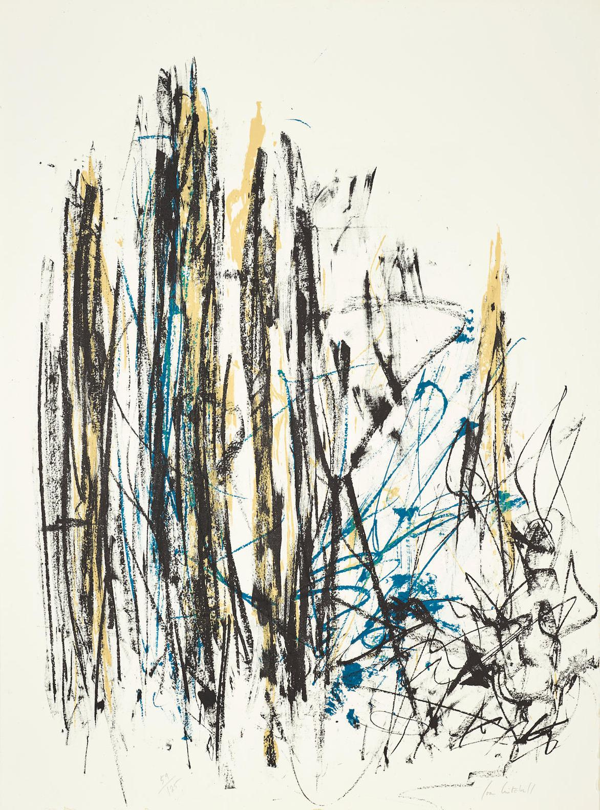 Joan Mitchell-Arbres (Black, Yellow And Blue)-1992