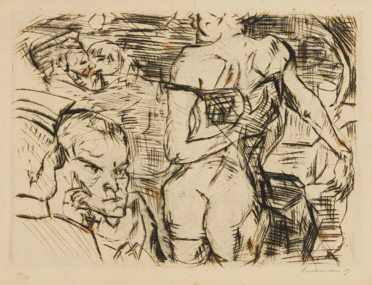 Max Beckmann-Bordell In Gent (H. 85; Gl. 77; Ga. 61)-1915