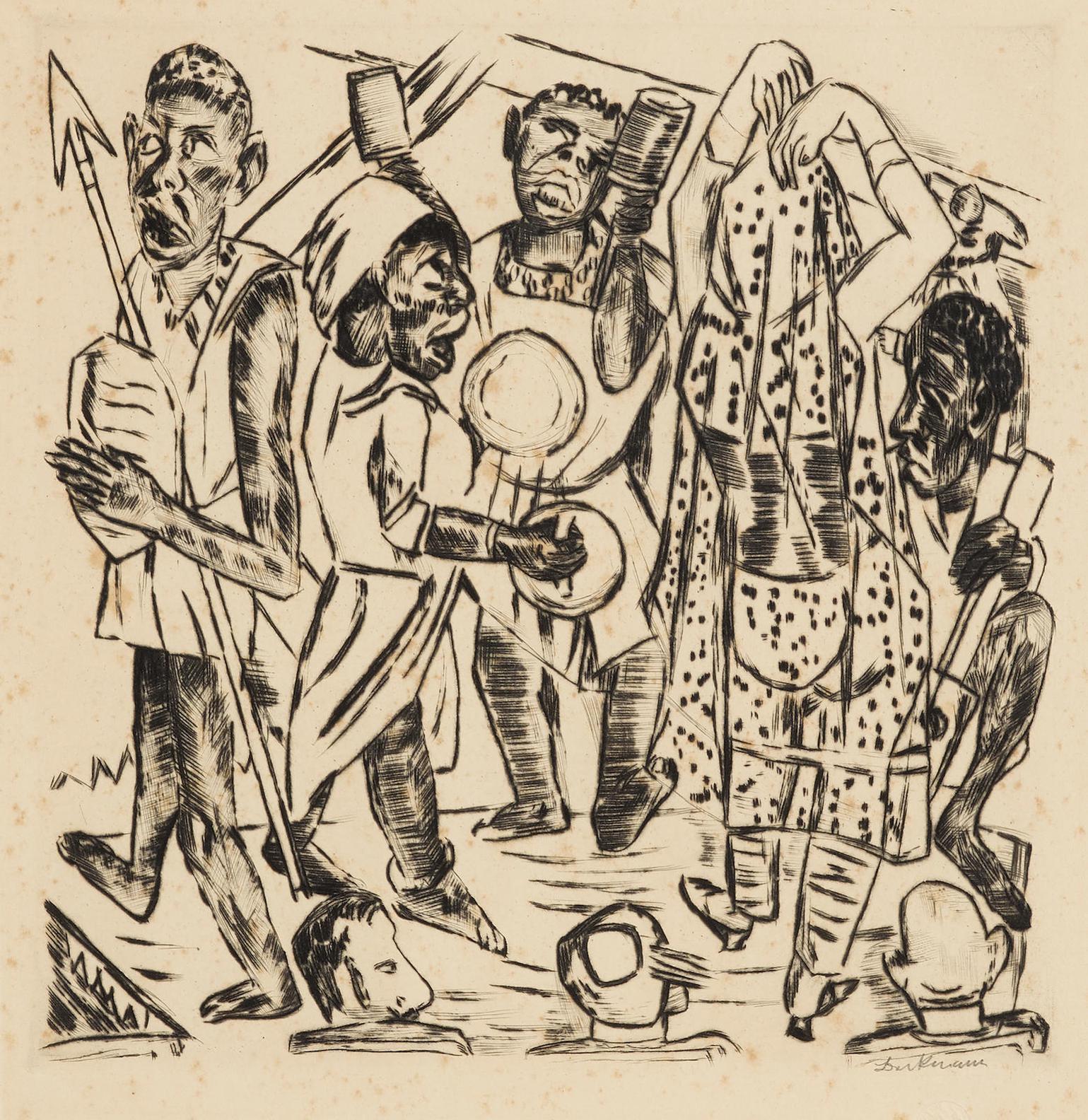 Max Beckmann-Niggertanz, Plate 9, From Jahrmarkt (H. 199; Gl. 174; Ga. 171)-1921