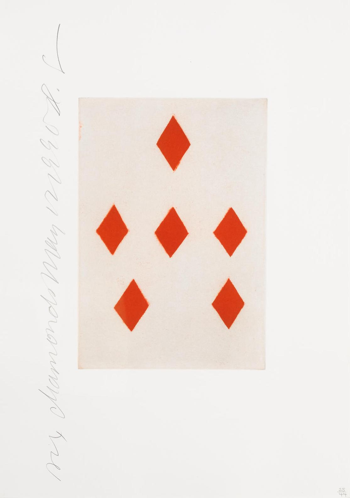 Donald Sultan-Three Of Hearts And Six Of Diamonds, From Playing Cards-1990