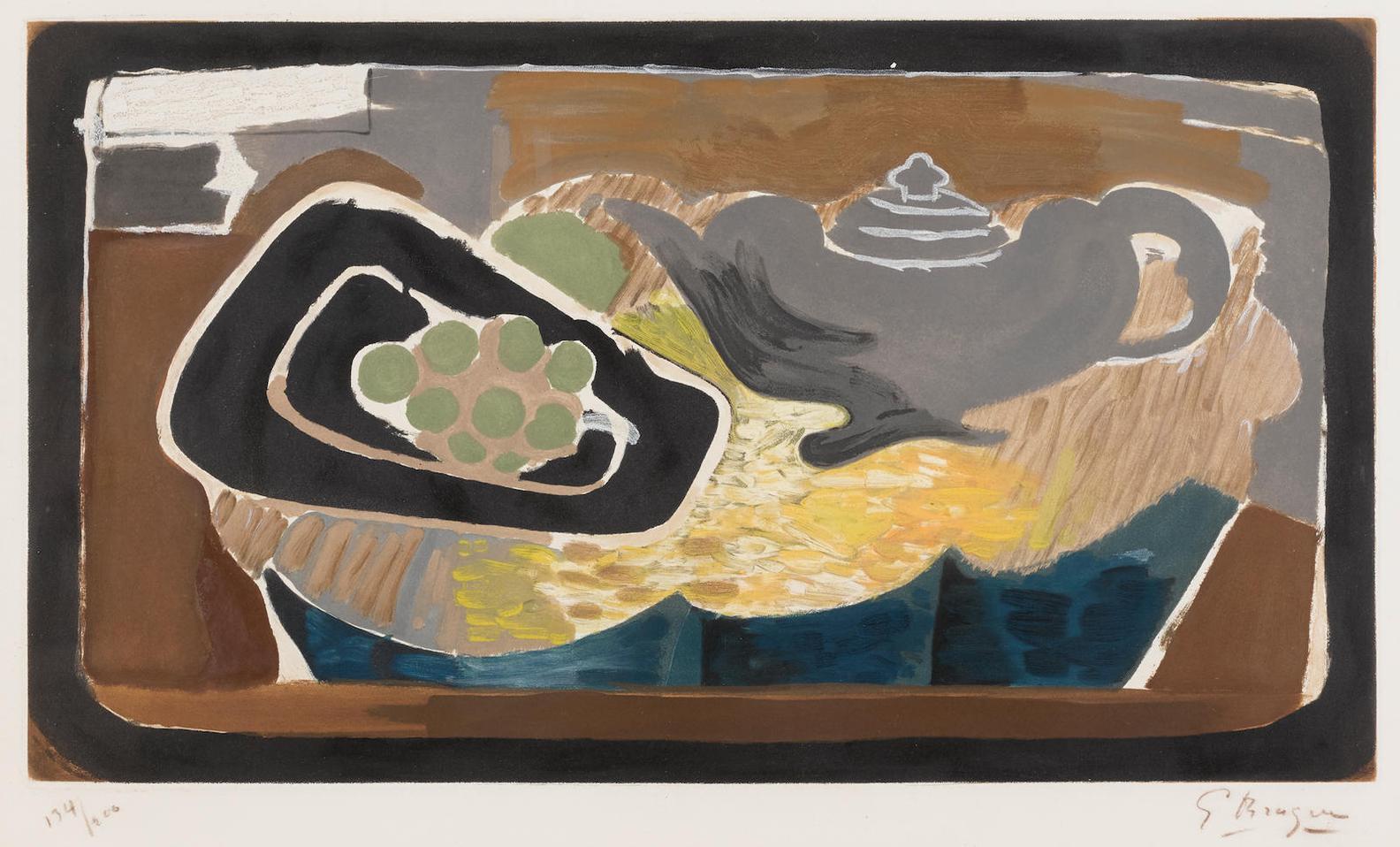 Georges Braque-After Georges Braque - La Theiere Et Raisin (M. 1022)-1950