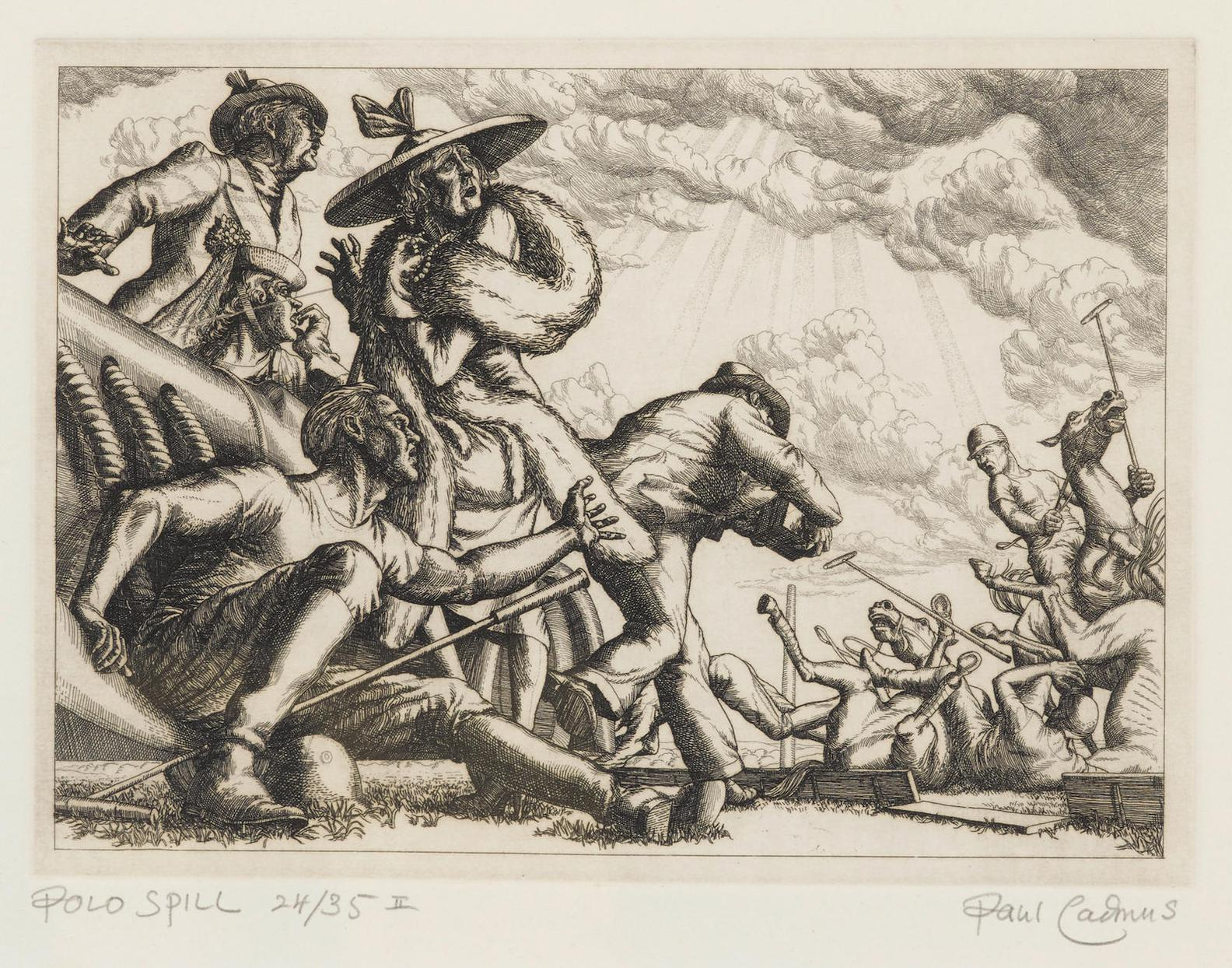 Paul Cadmus-Polo Spill (Aspects Of Suburban Life), From 1979 Portfolio Twelve Etchings (D. 41; J. 84),-1938