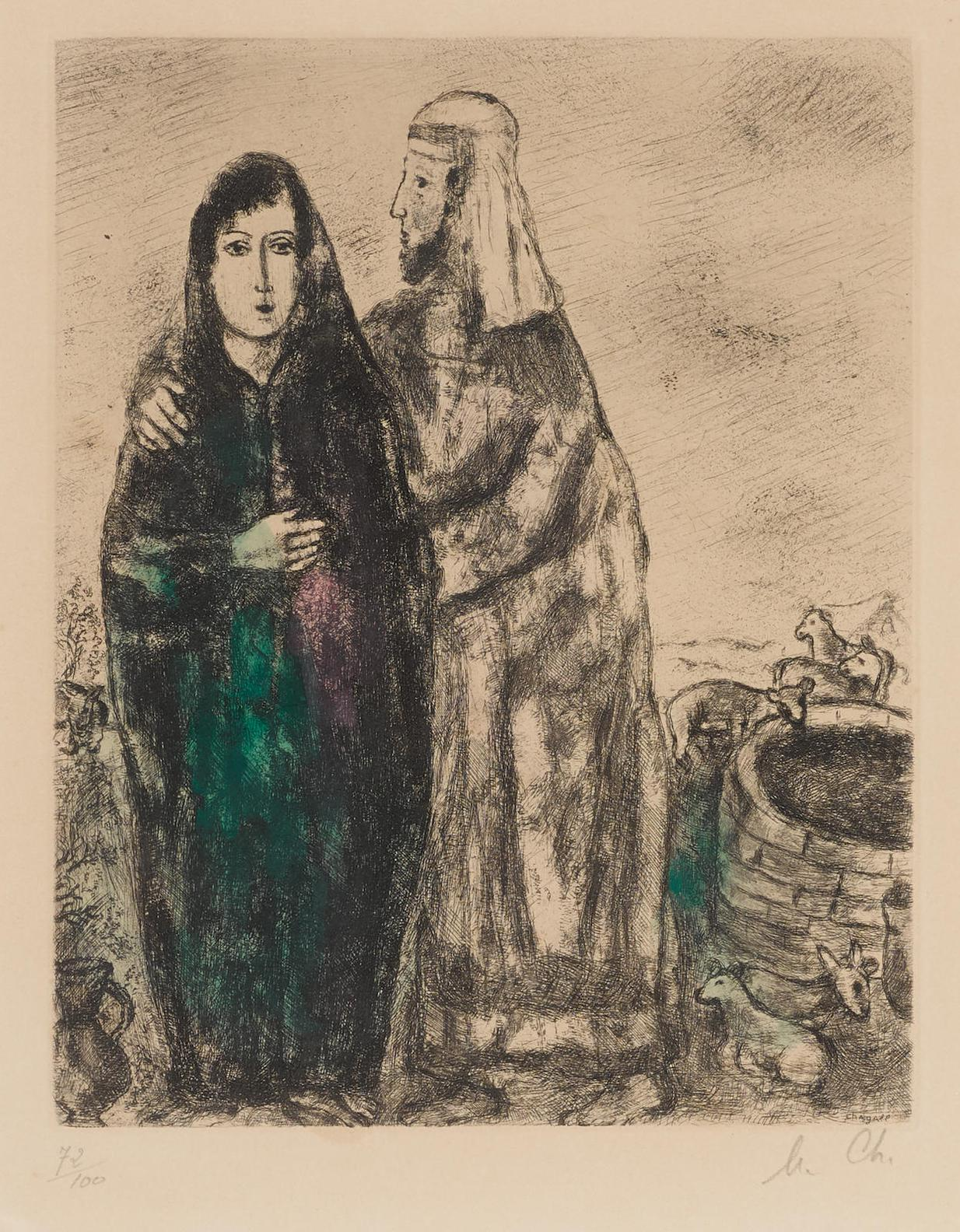 Marc Chagall-Bible: Meeting Of Jacob And Rachel (C. 30; V. 213)-1939