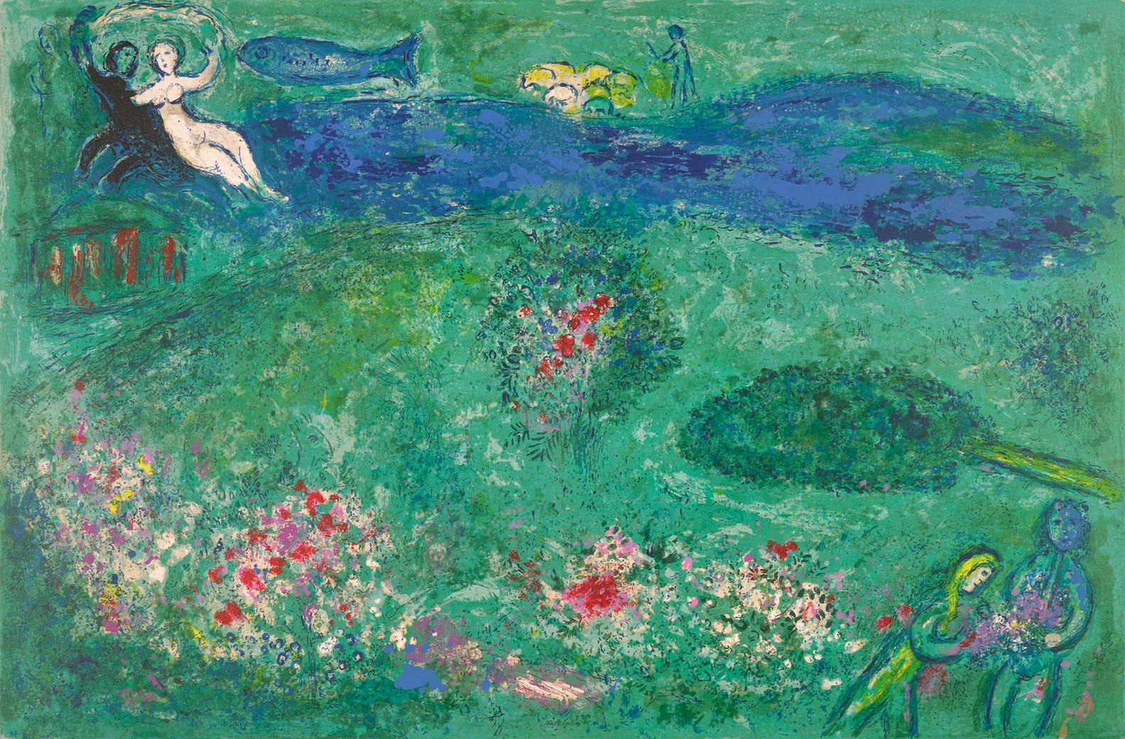 Marc Chagall-Daphnis Et Chloe: Eight Plates (M. 310, 317, 324, 329, 333, 341, 342, 344; C. Bk. 46)-1961