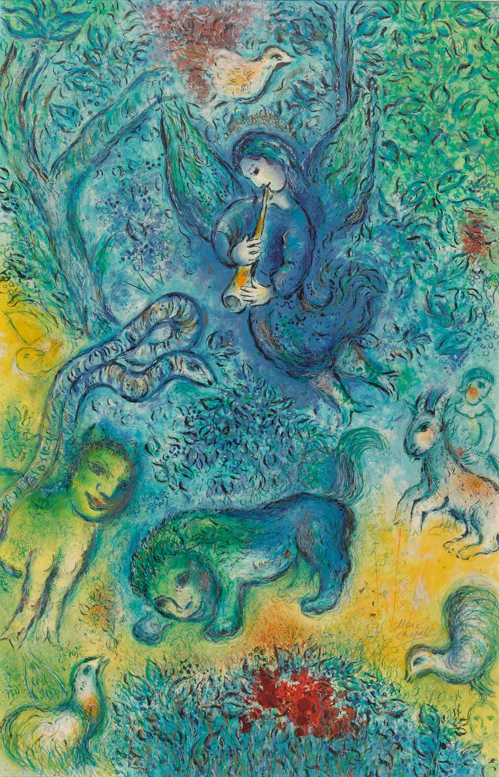 Marc Chagall-After Marc Chagall - La Flute Enchantee  (S. 38)-1967