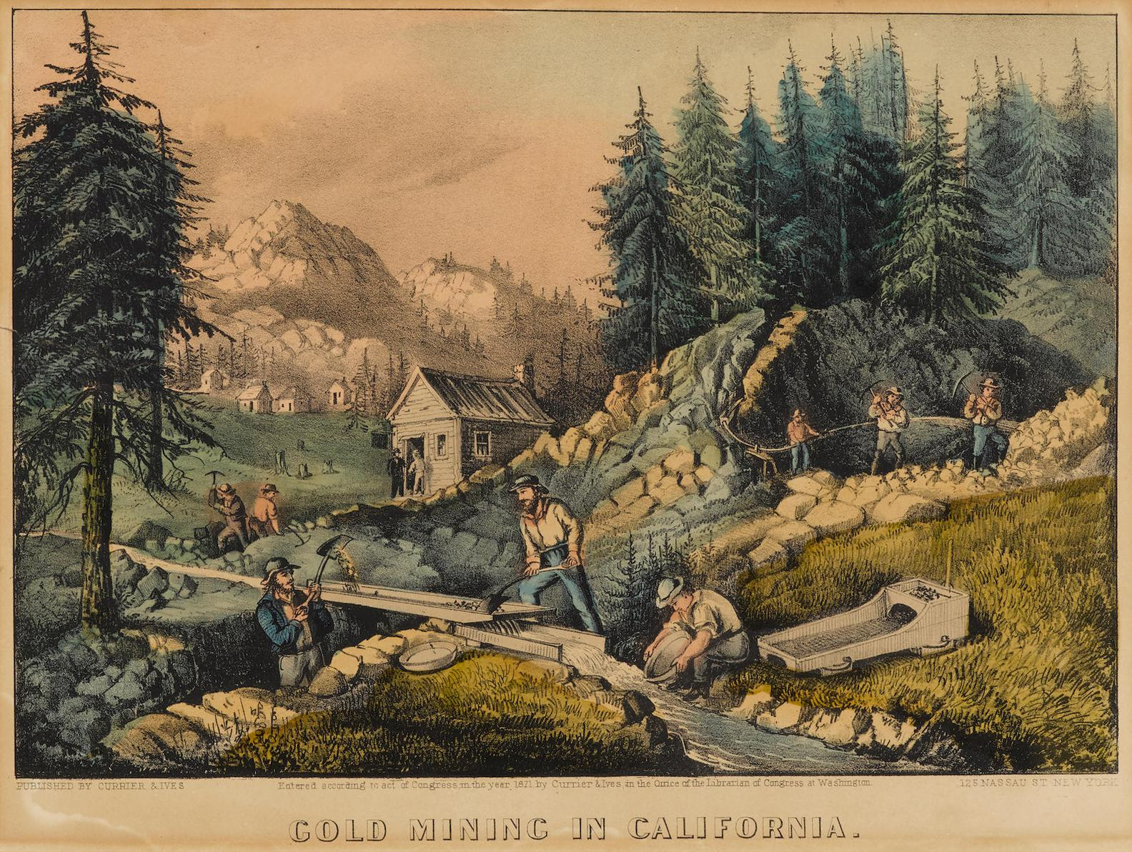 Currier & Ives-Gold Mining In California (G. 2622; C. 2412)-1871