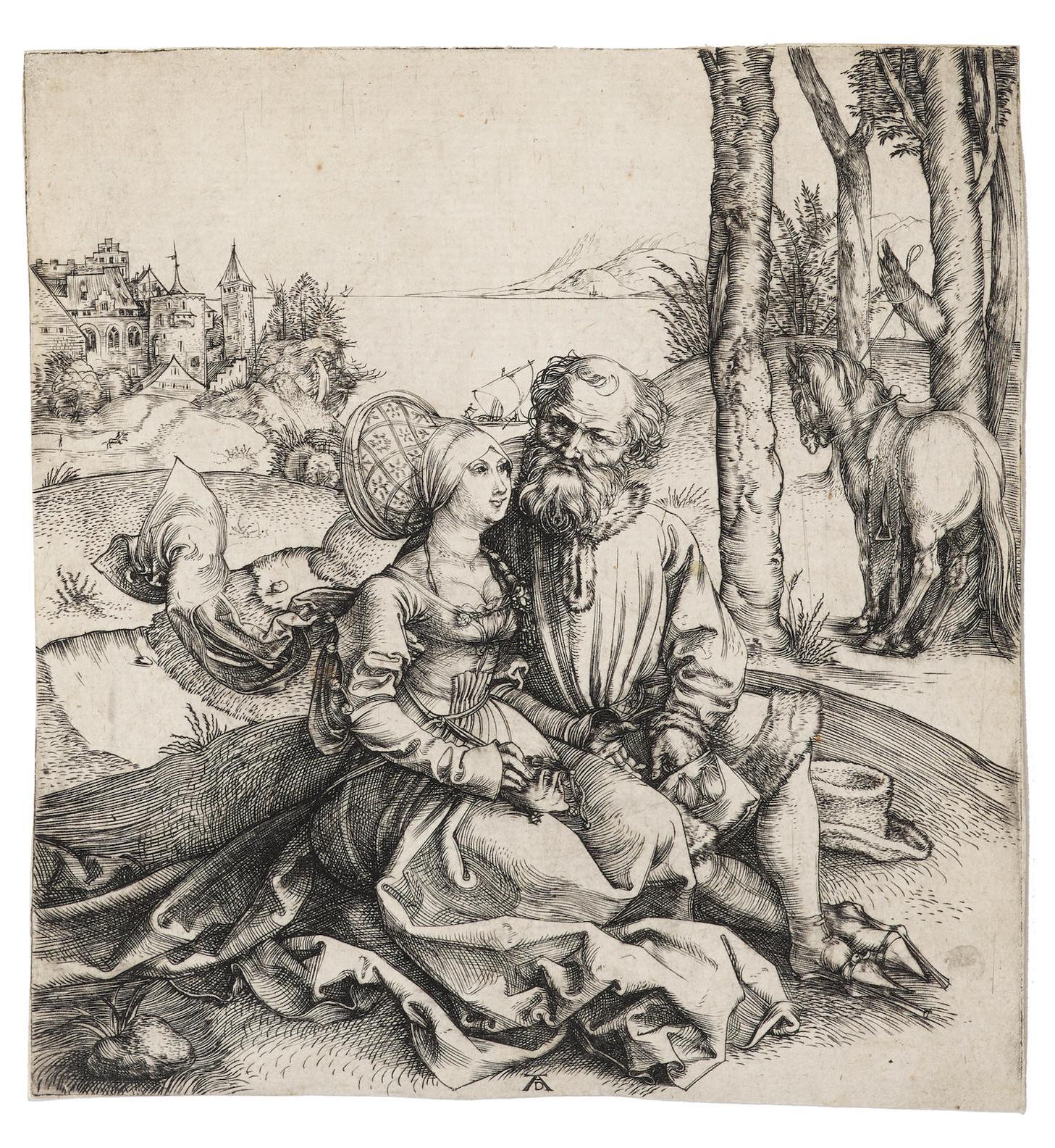 Albrecht Durer-The Ill-Assorted Couple (B. 93; M., Holl. 77; S.M.S. 3)-1495