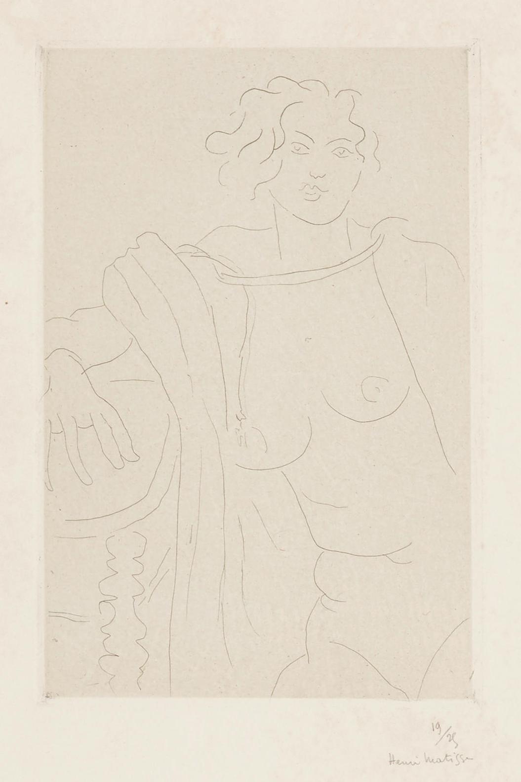 Henri Matisse-Figure Assise, Le Bras Droit Appuye Sur Une Table (D. 215)-1929