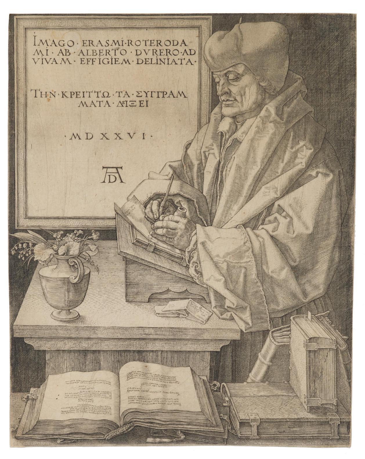 Albrecht Durer-Erasmus Von Rotterdam (B. 107; M., Holl. 105; S.M.S. 102)-1526