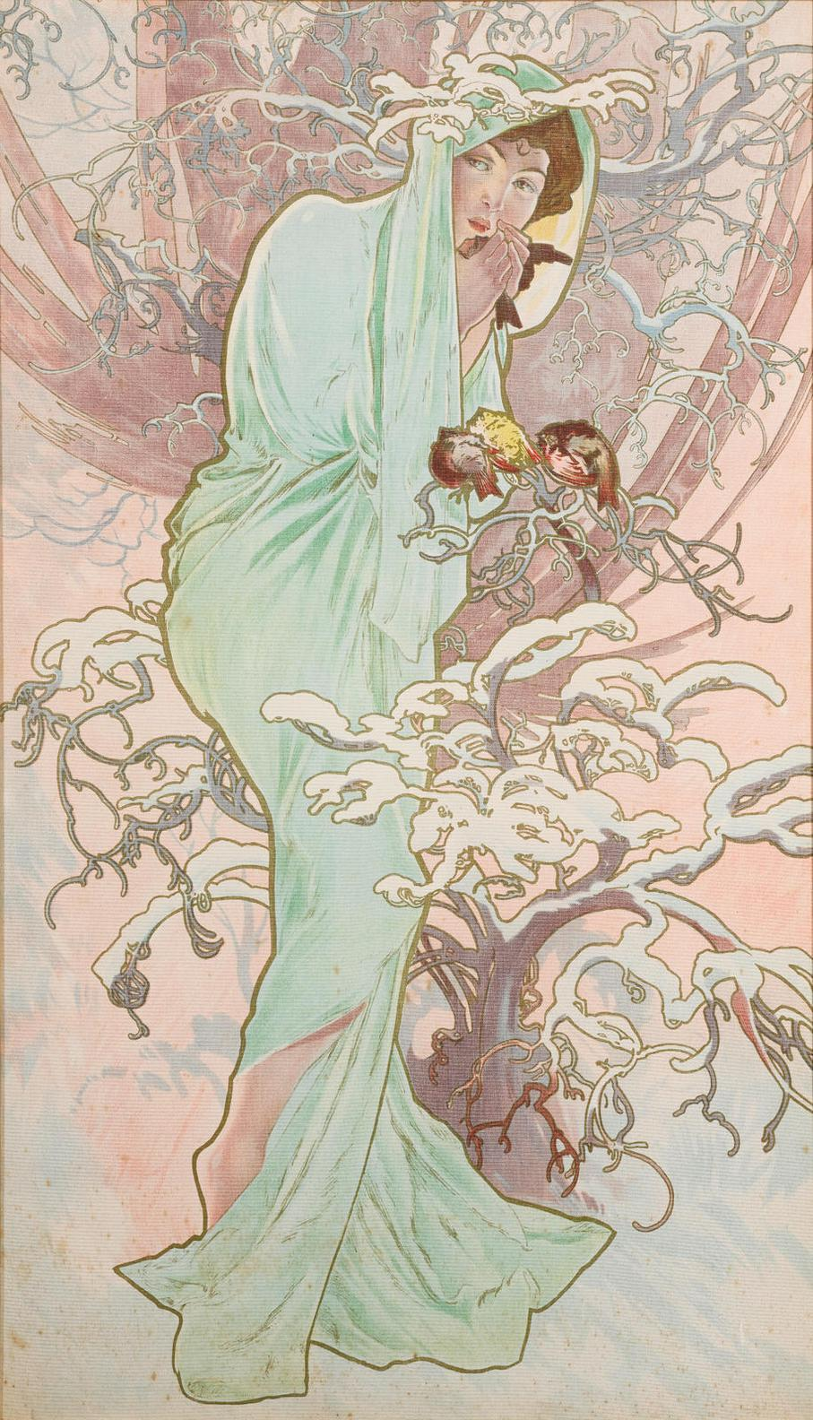 Alphonse Mucha-Winter, From The Seasons (R./W. 18)-1896