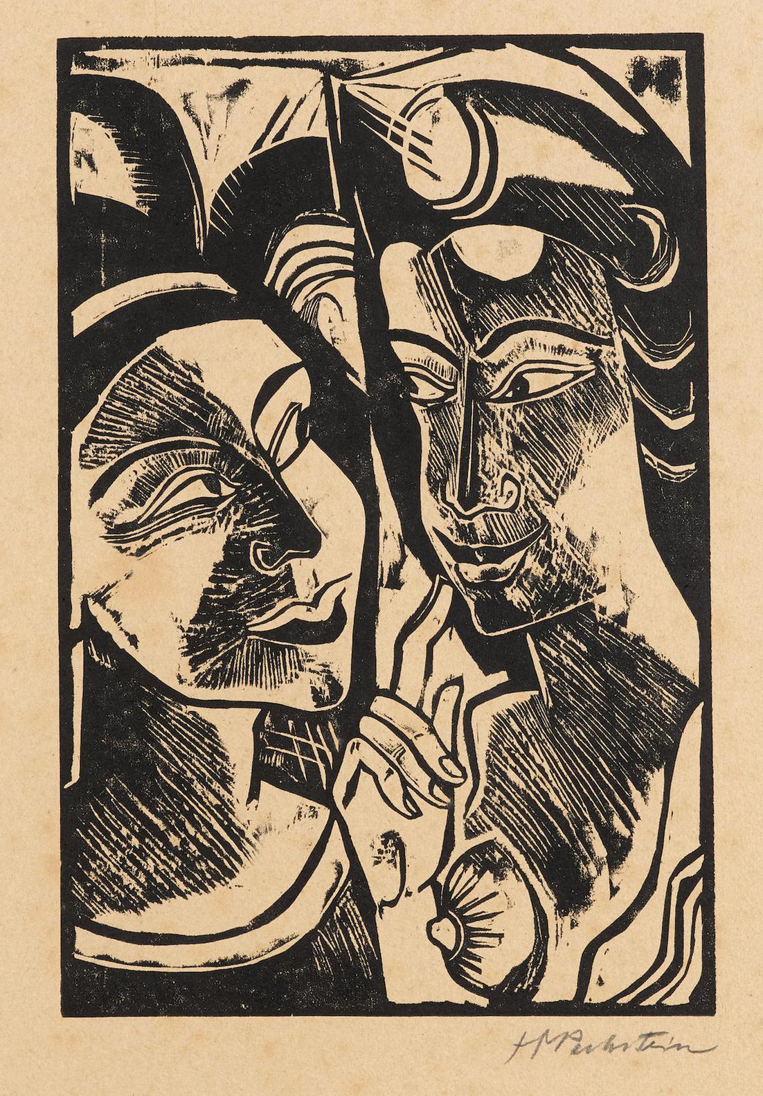 Max Pechstein-Zwiesprache, Plate 8, From Hmpechstein Holzschnitte (H. 208)-1918