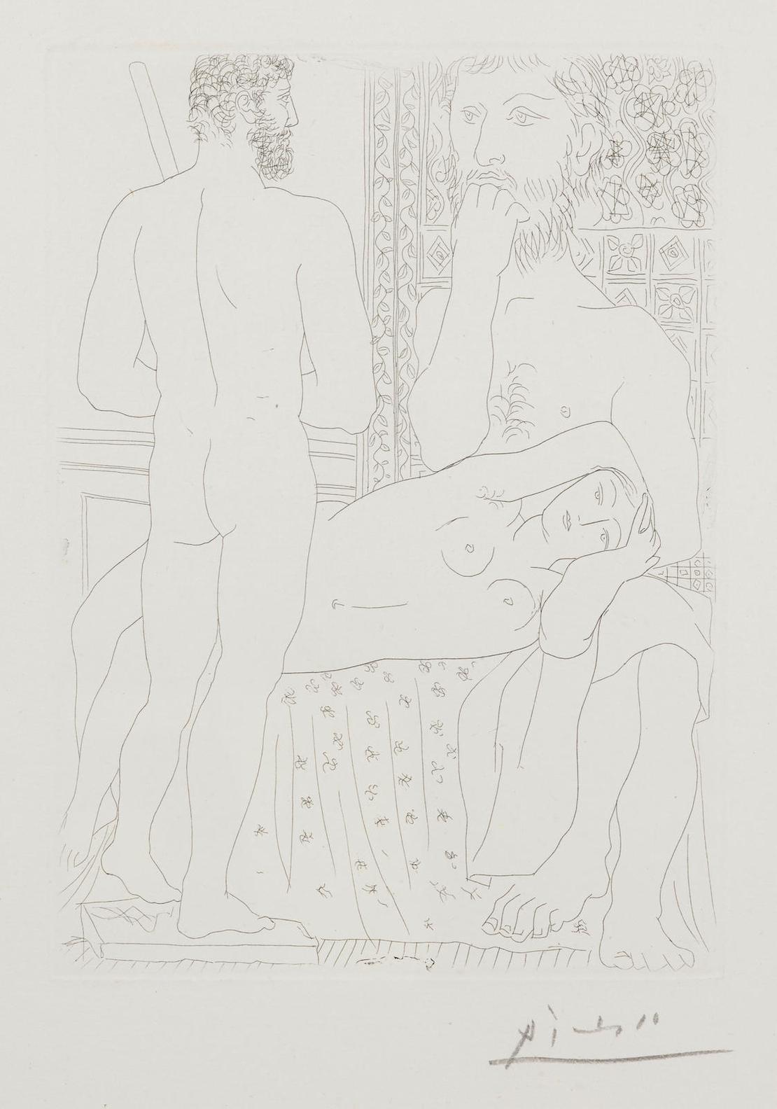 Pablo Picasso-Modele Couche Et Sculpture, Plate 37 From La Suite Vollard (B. 147; Ba. 298)-1933