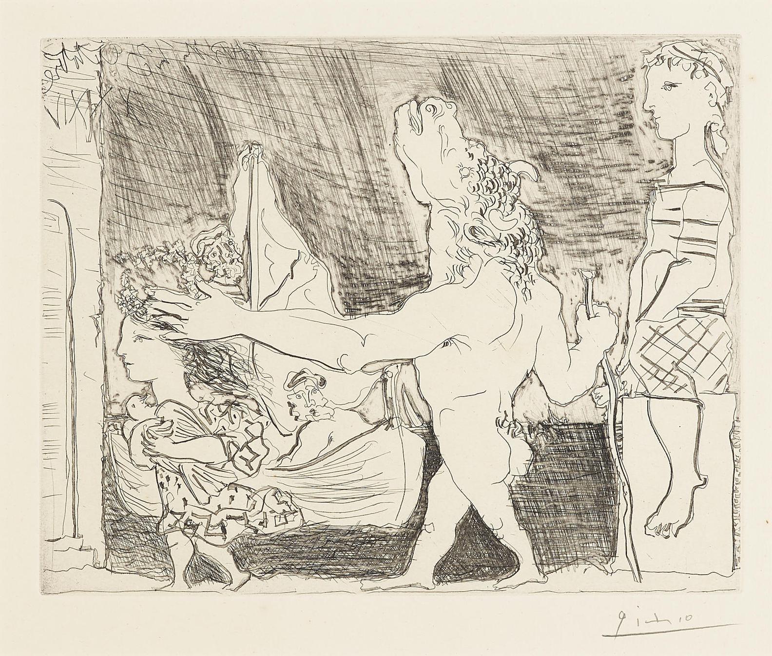 Pablo Picasso-Minotaure Aveugle Guide Par Une Fillette II, From: La Suite Vollard (B. 223; Ba. 435)-1934