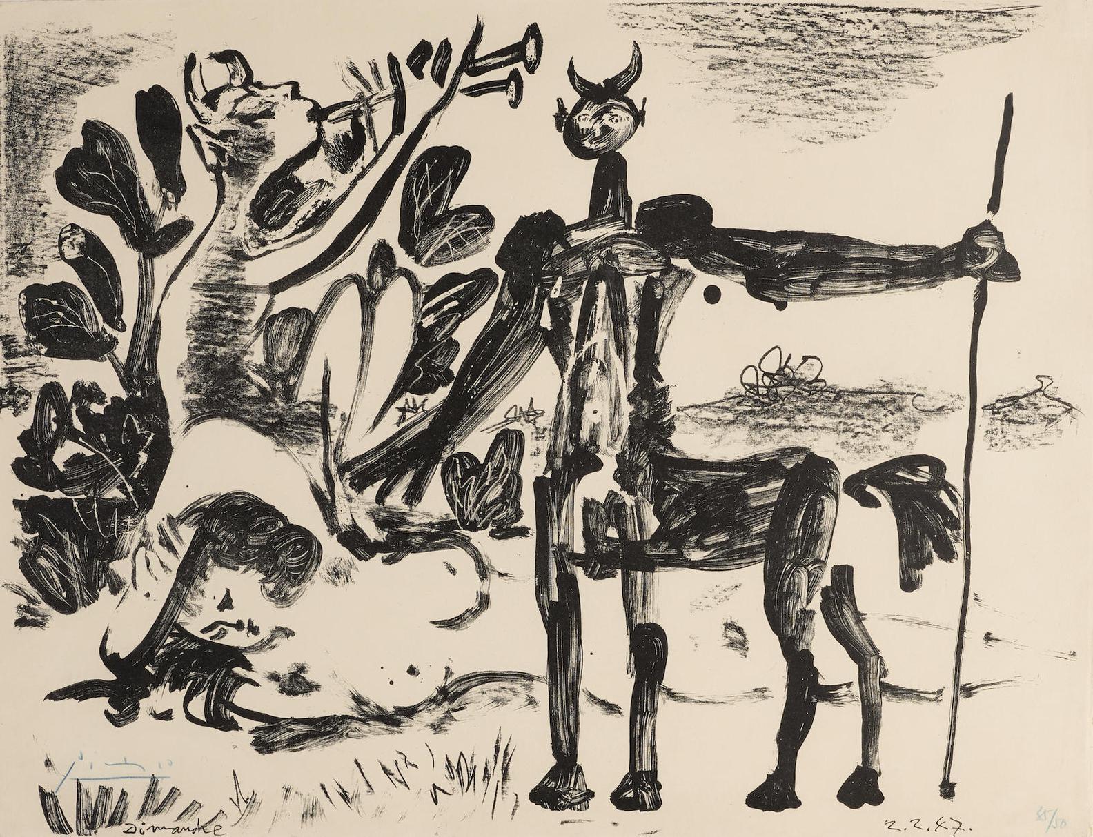 Pablo Picasso-Centaure Et Bacchante Avec Un Faune (B. 417; M. 63)-1947