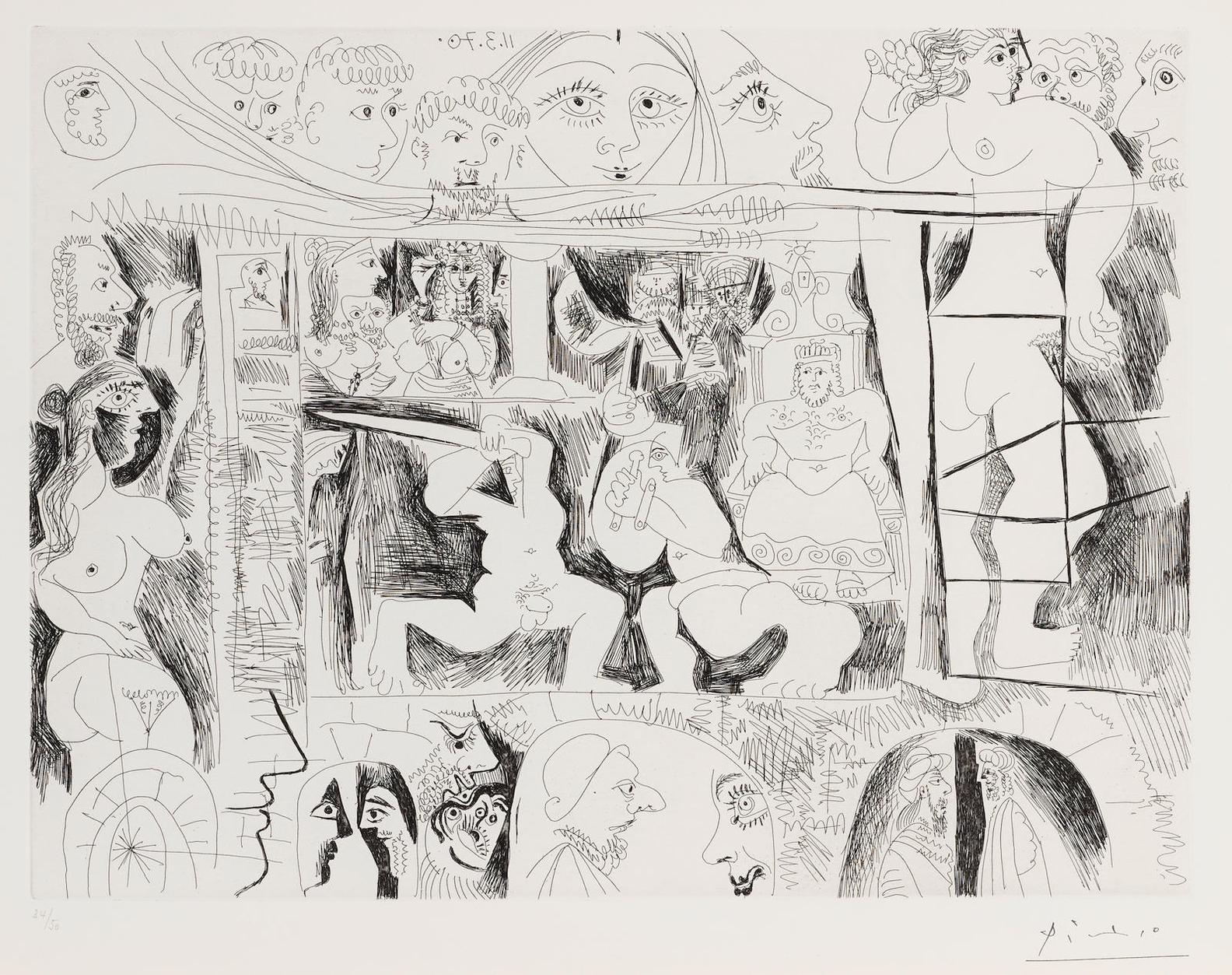 Pablo Picasso-Combat De Gladiateurs, Avec Spectateurs, From La Serie 156 (B. 1874; Ba. 1879)-1970