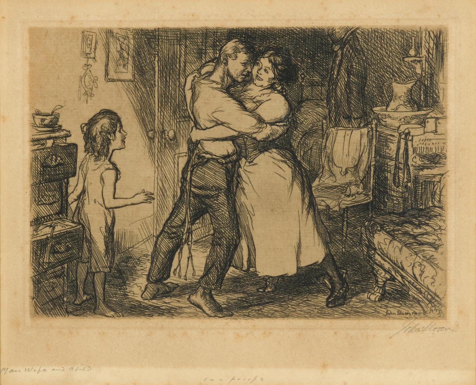 John Sloan-Man, Wife And Child, From New York City Life Series (M. 135)-1905