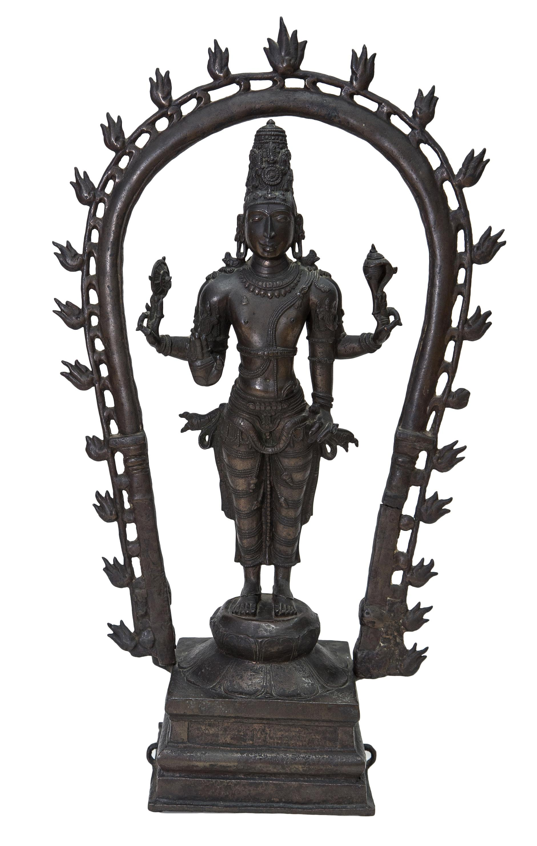 Indian Sculpture - An Impressive Figure Of Vishnu-