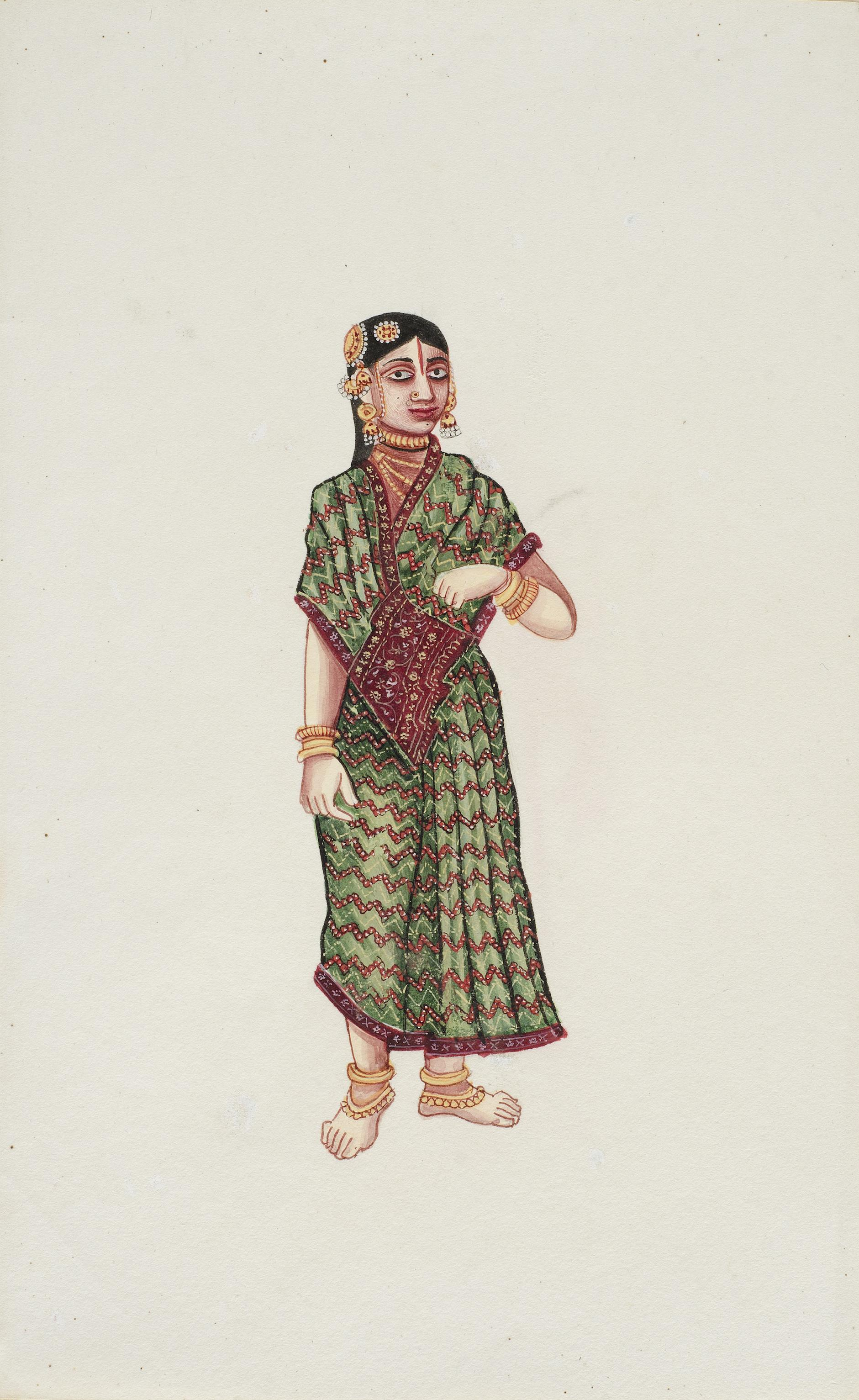 Company Painting - Woman In A Green Sari-1850