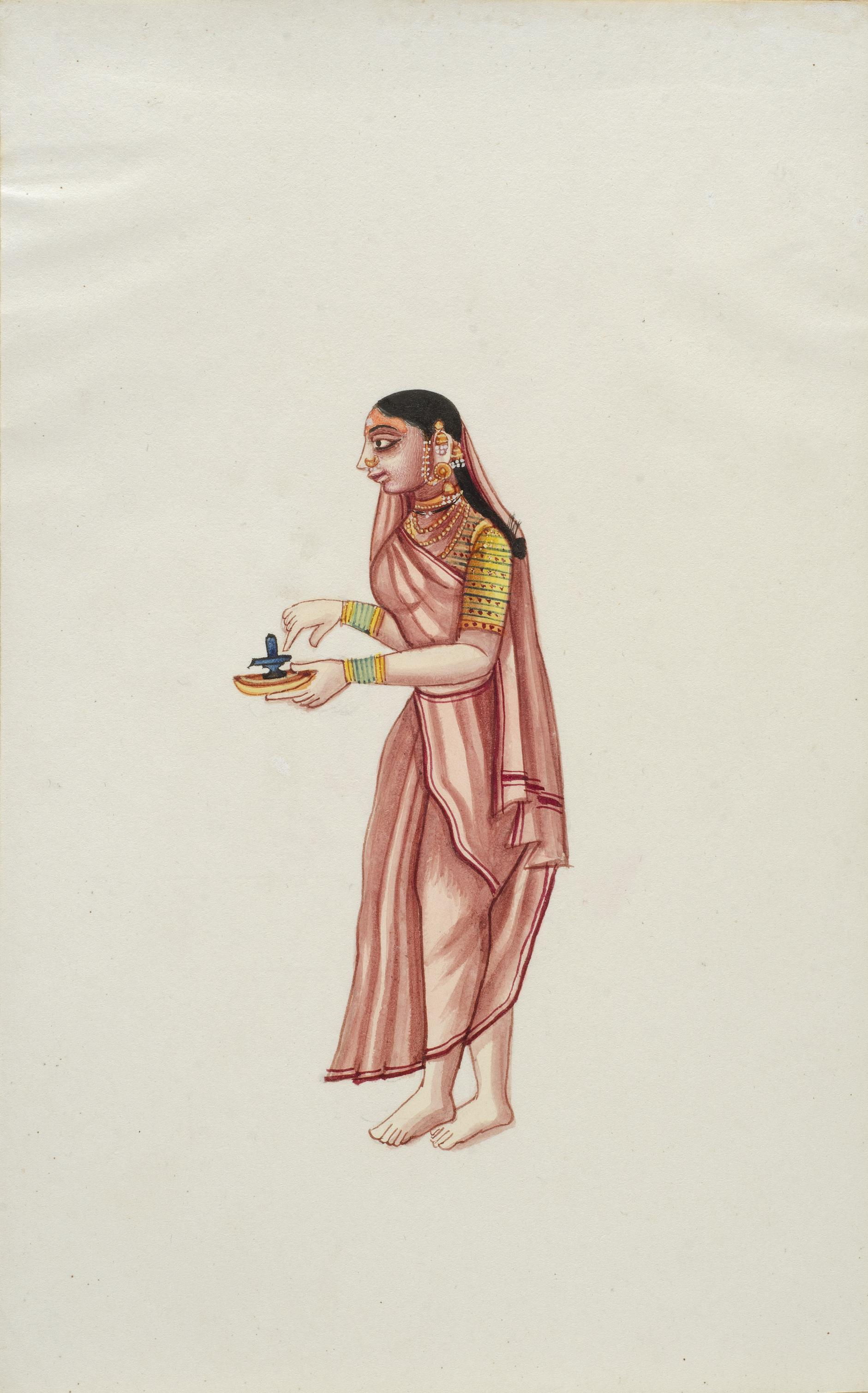 Company Painting - Woman With A Shivalingam-1850