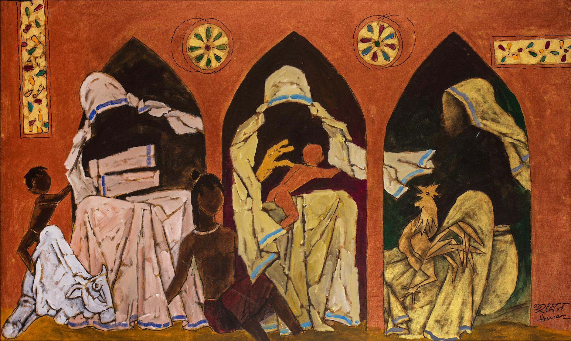 Maqbool Fida Husain-Trinity Of Mother Teresa-1989