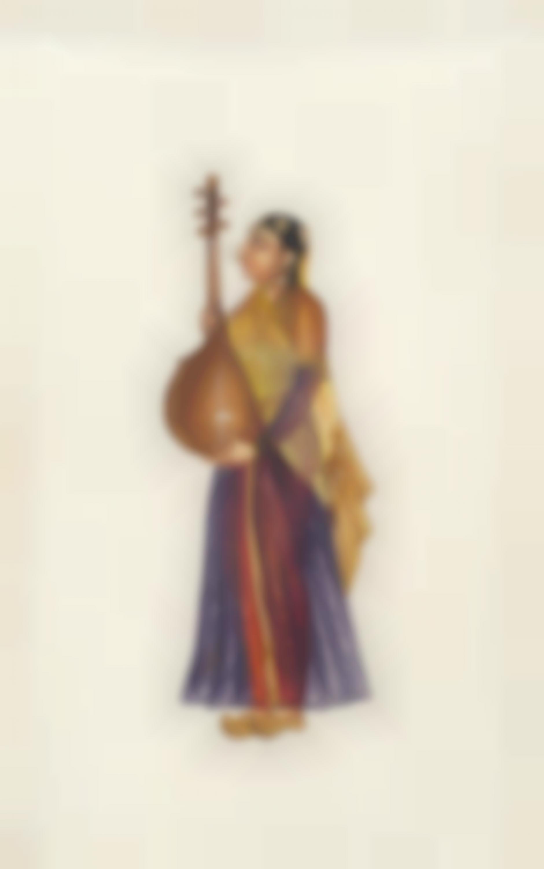 Company Painting - Woman Musician-1850