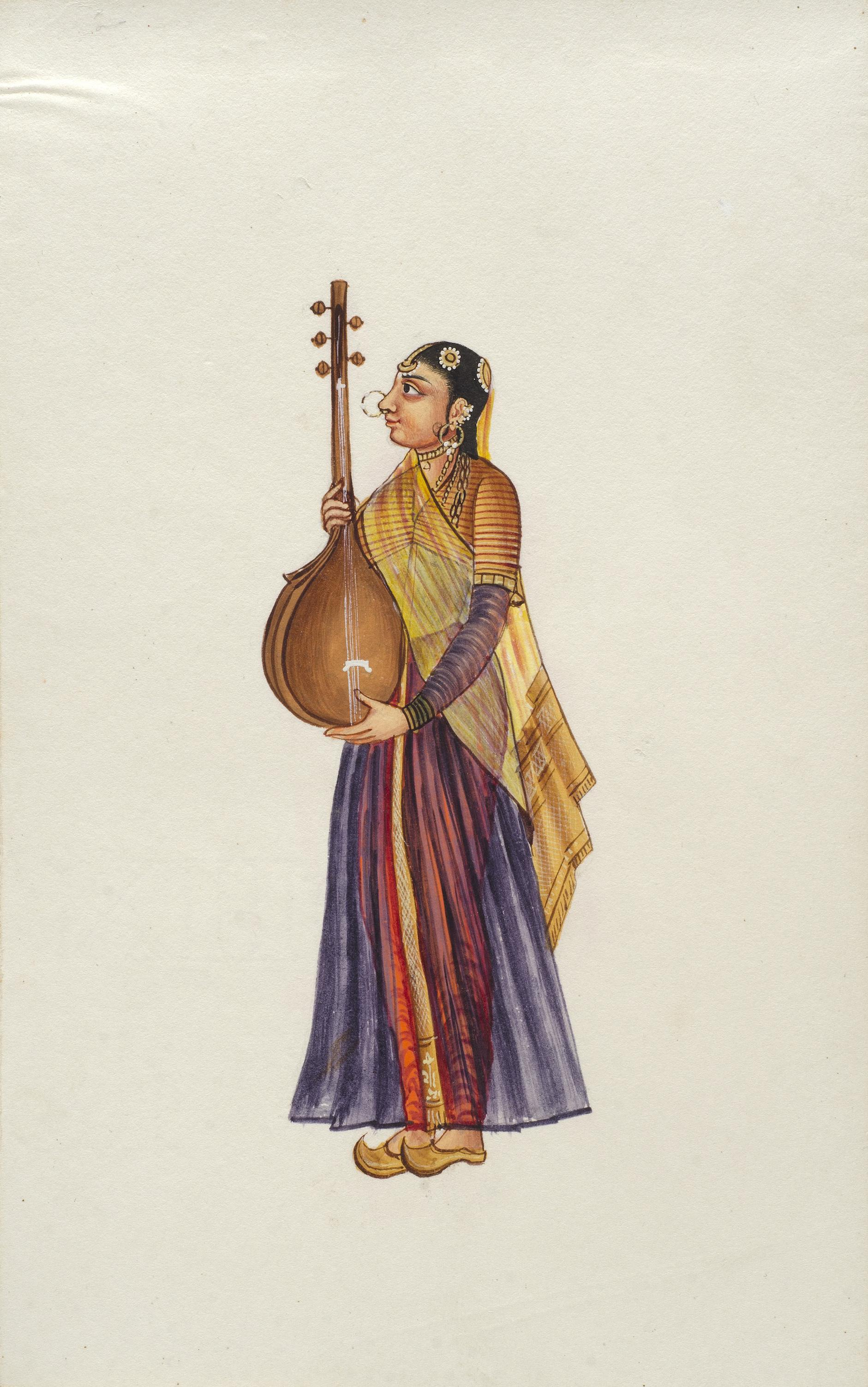 Company Painting - Woman Musician-1850