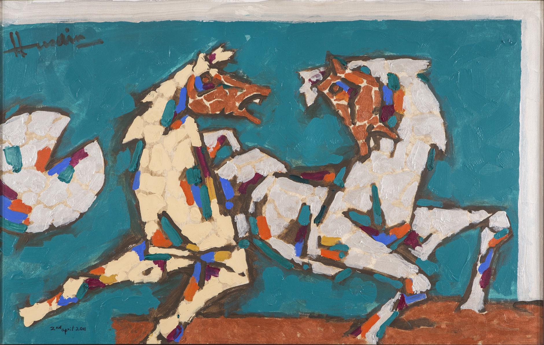 Maqbool Fida Husain-Untitled (2 Horses)-2011