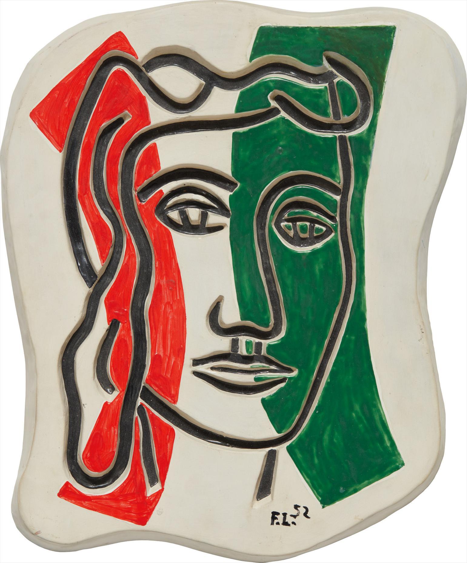 Fernand Leger-Visage En Creux (Rouge Et Vert)-1952
