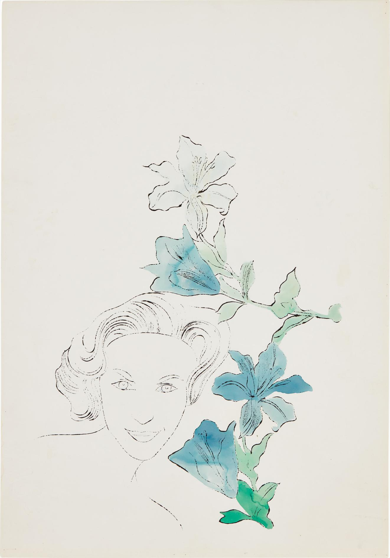 Andy Warhol-Female Head (With Blue Flowers)-1950