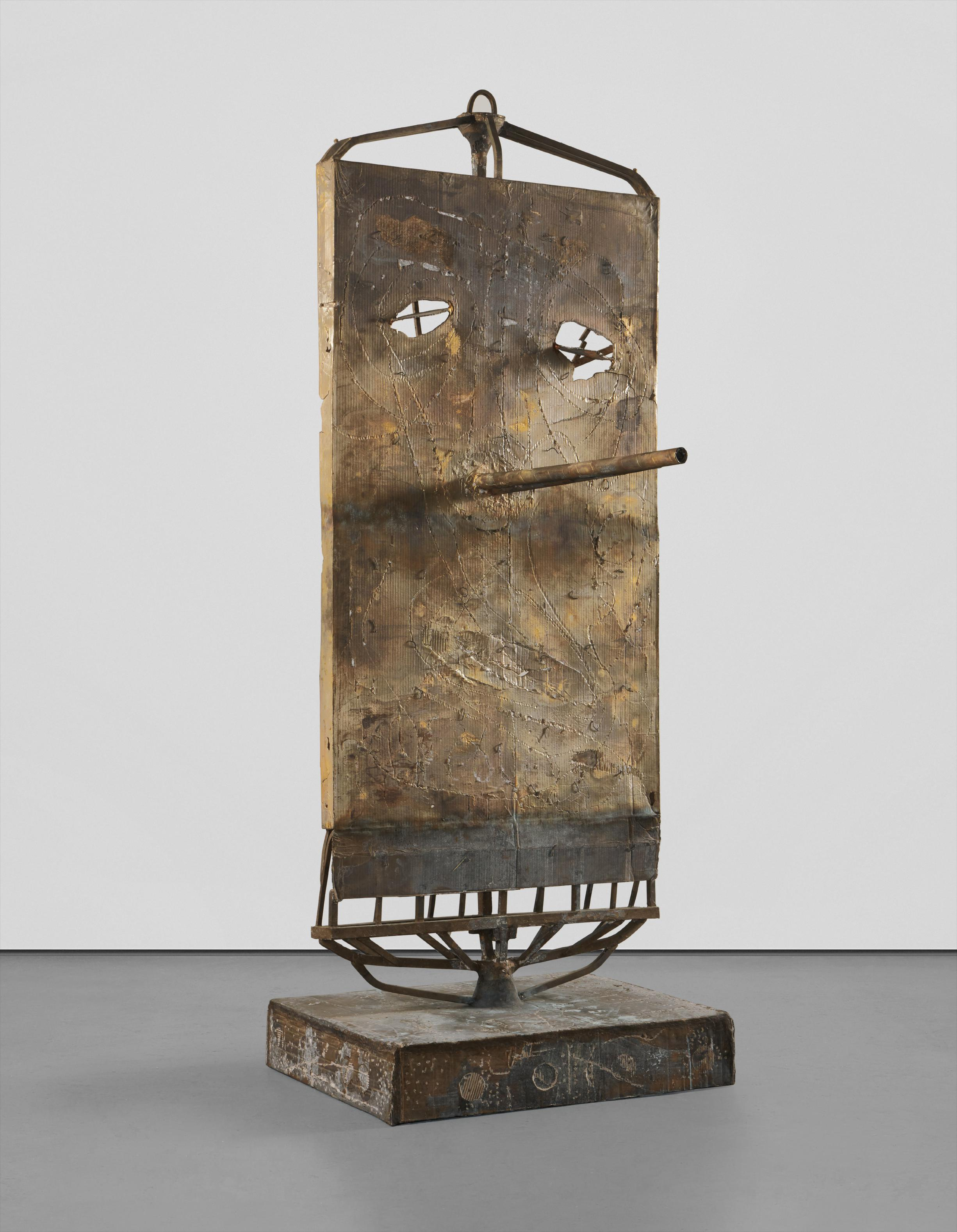 Mark Grotjahn-Untitled (Free Standing Large Garden Sculpture Mask M24.G)-2014