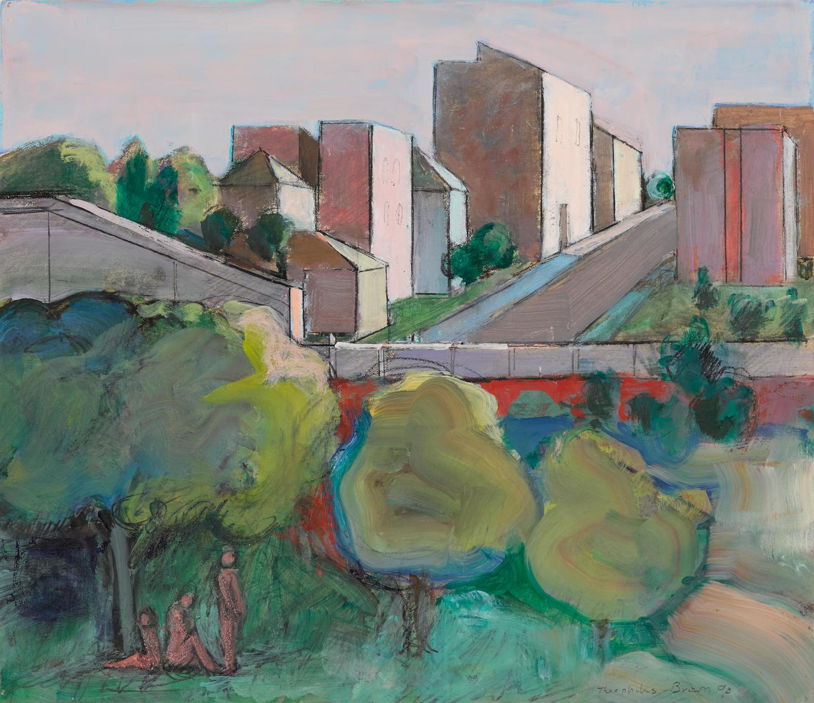 William Theophilus Brown-Untitled (Landscape With Buildings)-1990