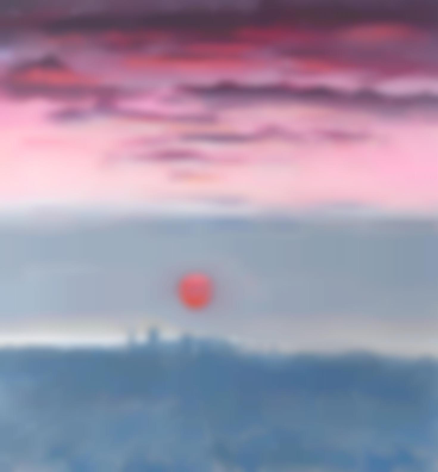 Paul Wonner-Twenty-Seven Studies For Romantic Views Of San Francisco: #14 Dawn With Red Sun Behind Fog-1980