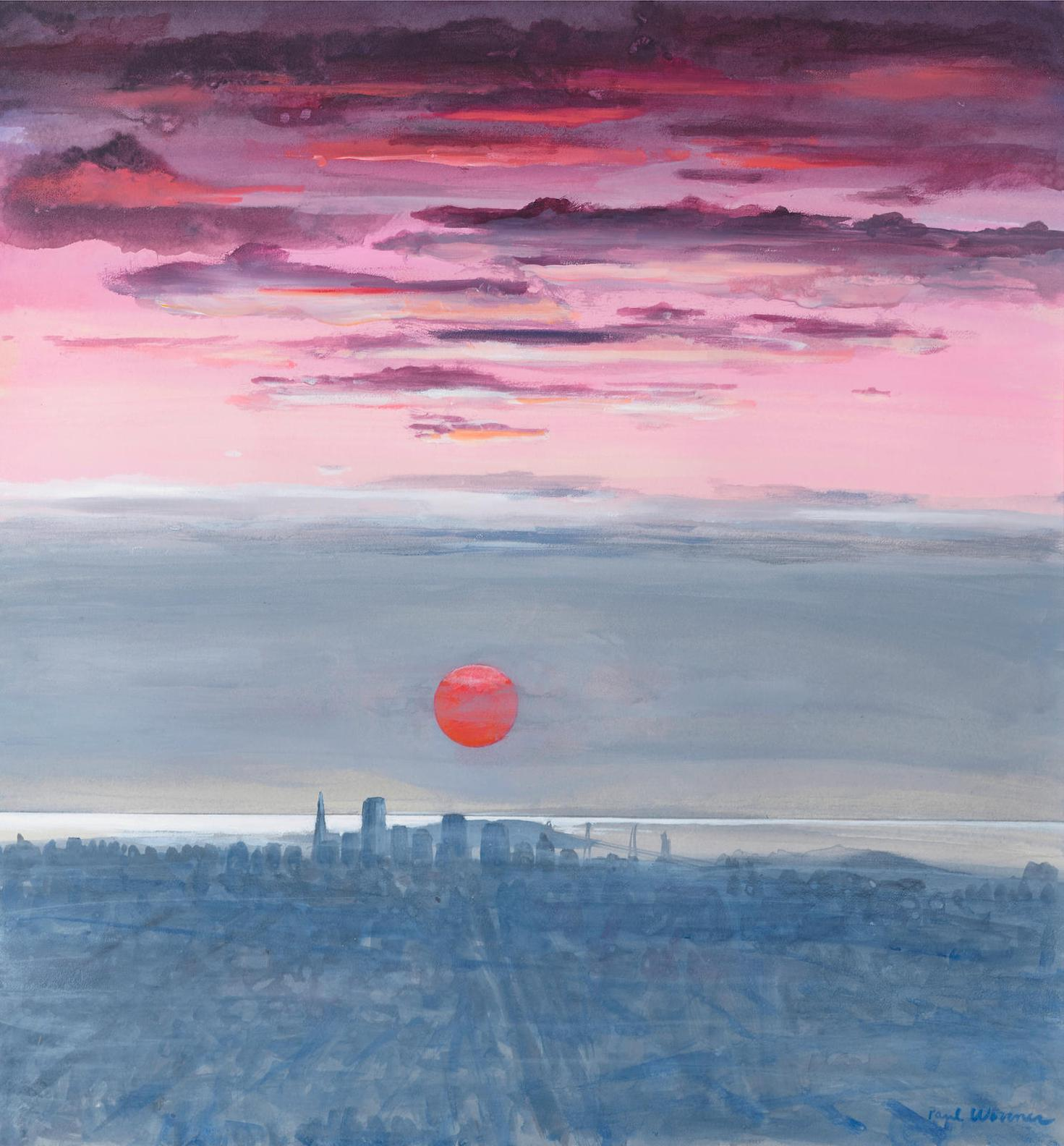 Paul Wonner-Twenty-Seven Studies For Romantic Views Of San Francisco: #14 Dawn With Red Sun Behind Fog-1980