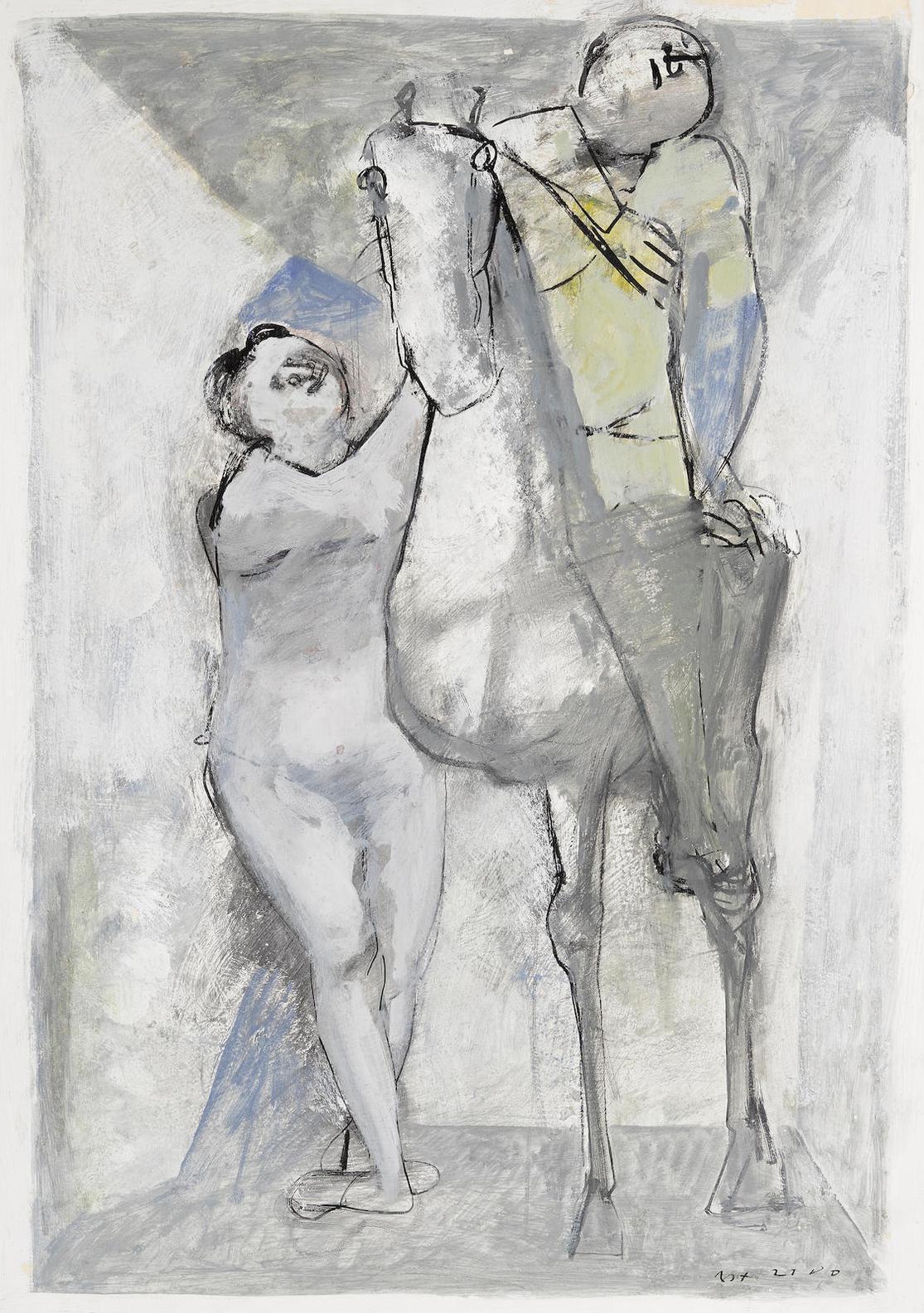 Marino Marini-Acrobati E Cavallo-