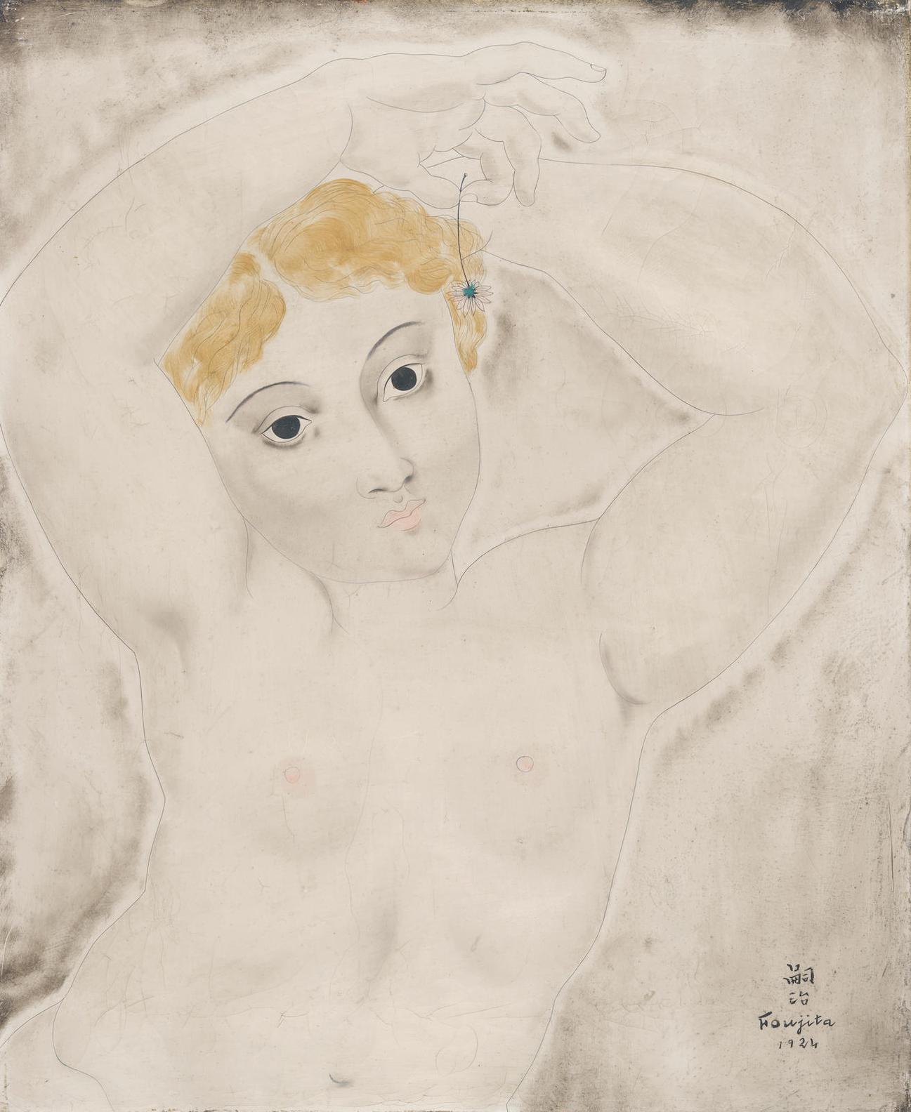Tsuguharu Foujita-Nu Aux Bras Leves (La Petite Cariatide A La Paquerette)-1924