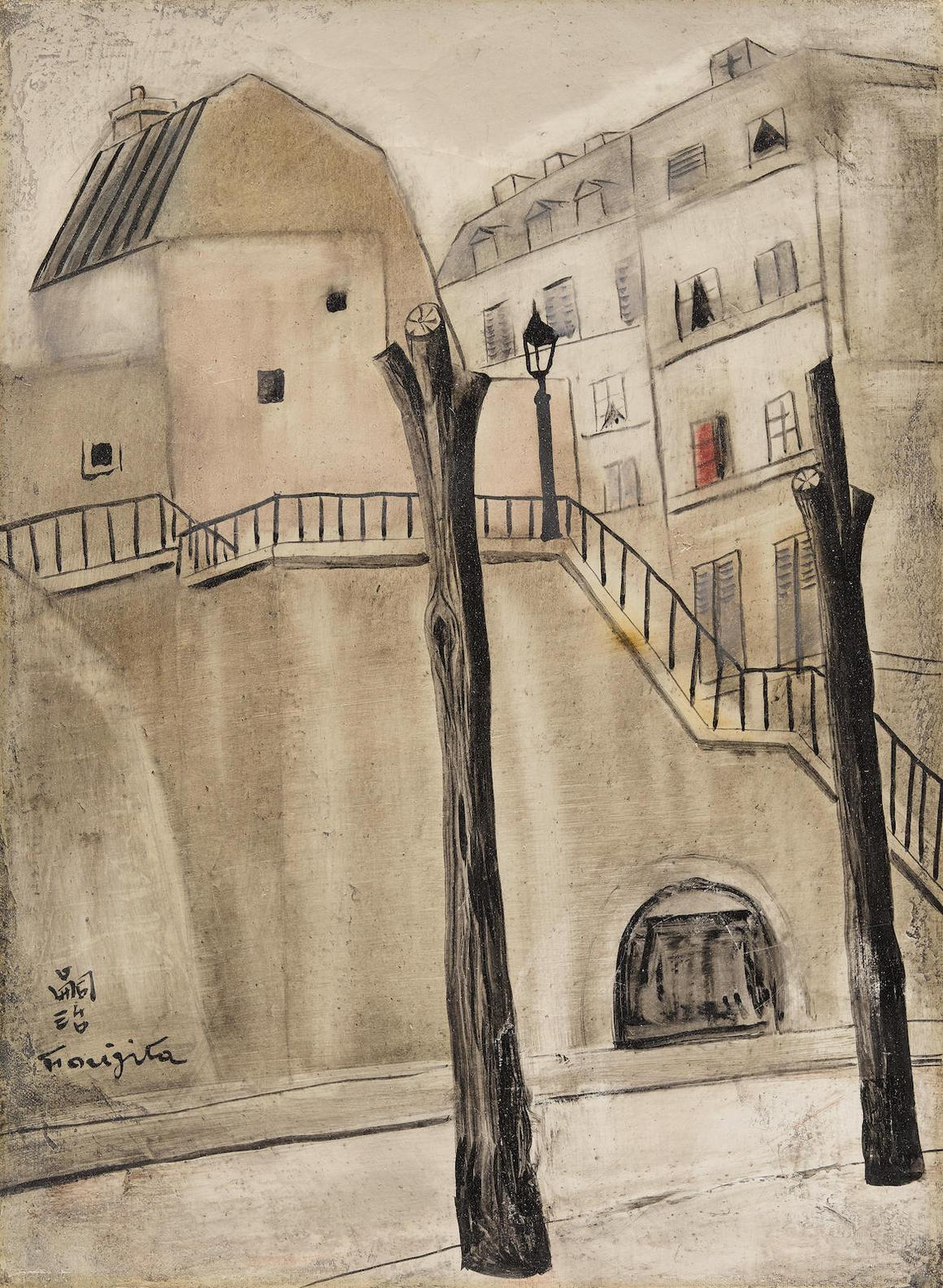 Tsuguharu Foujita-Paysage De Montmartre, Un Escalier-1921