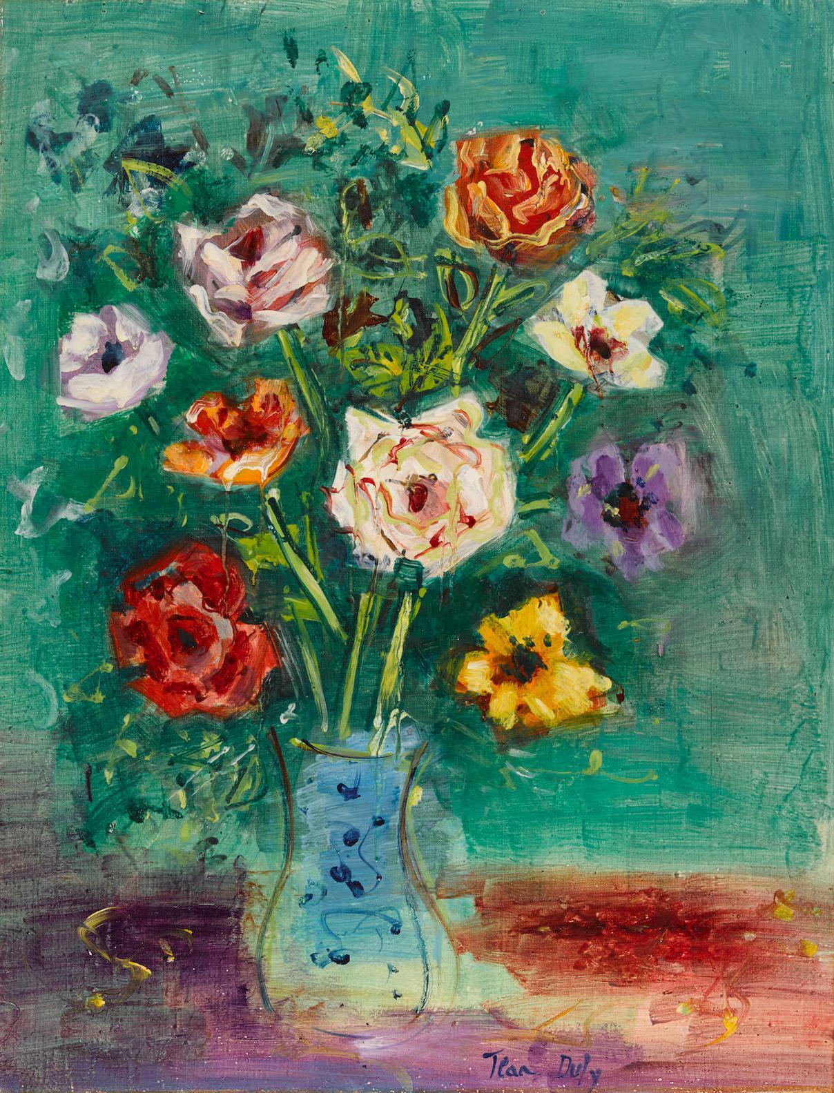 Jean Dufy-Bouquet De Roses Et Danemones-1954