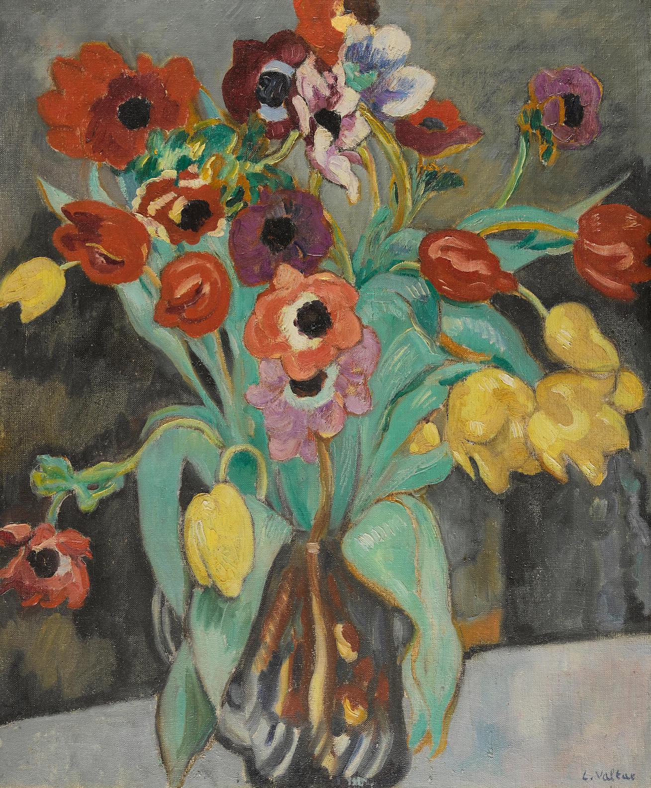 Louis Valtat-Anemones Et Tulipes Dans Un Vase Bleu-1912