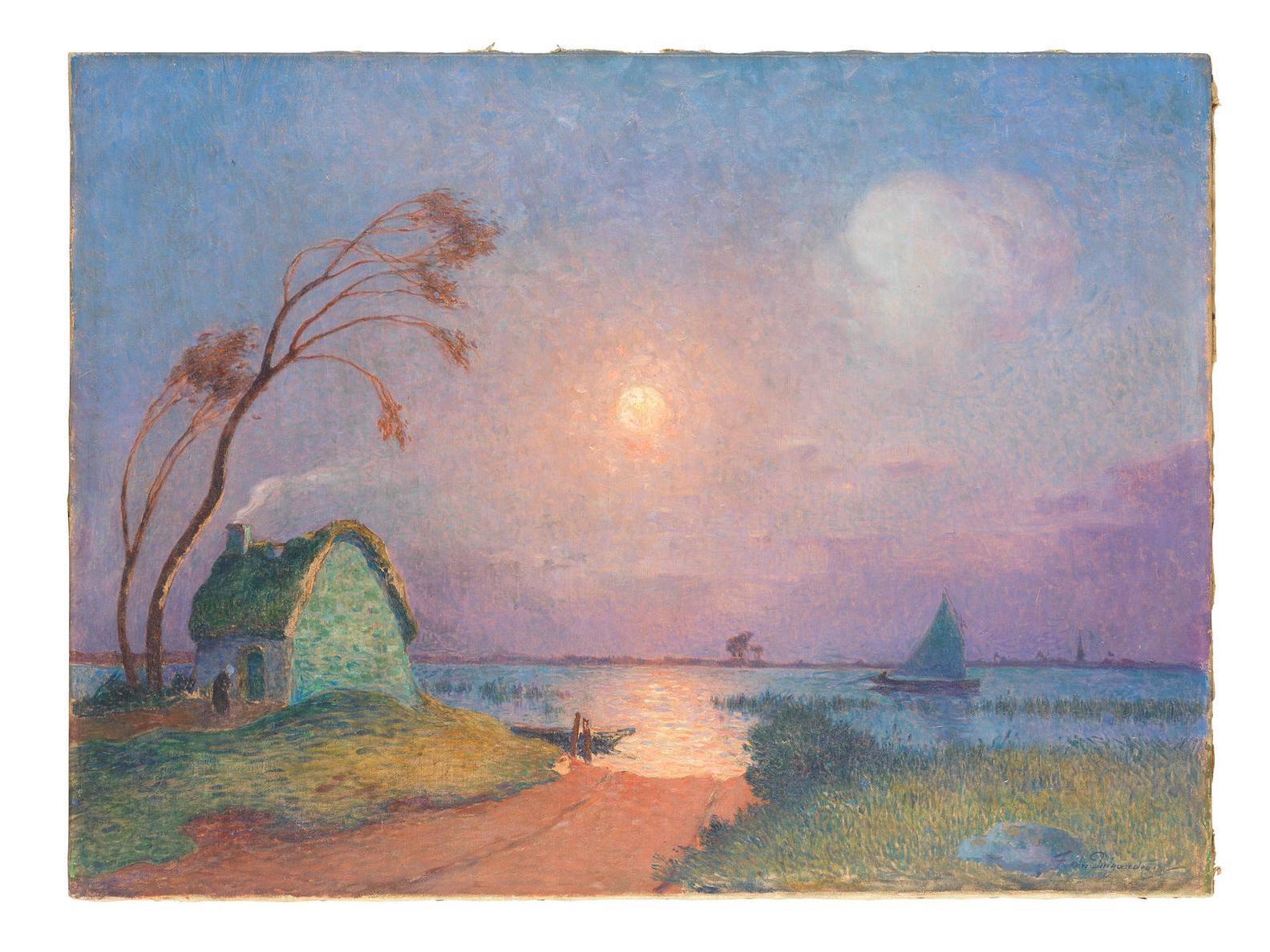 Ferdinand Du Puigaudeau-Chaumiere Au Clair De Lune En Briere-