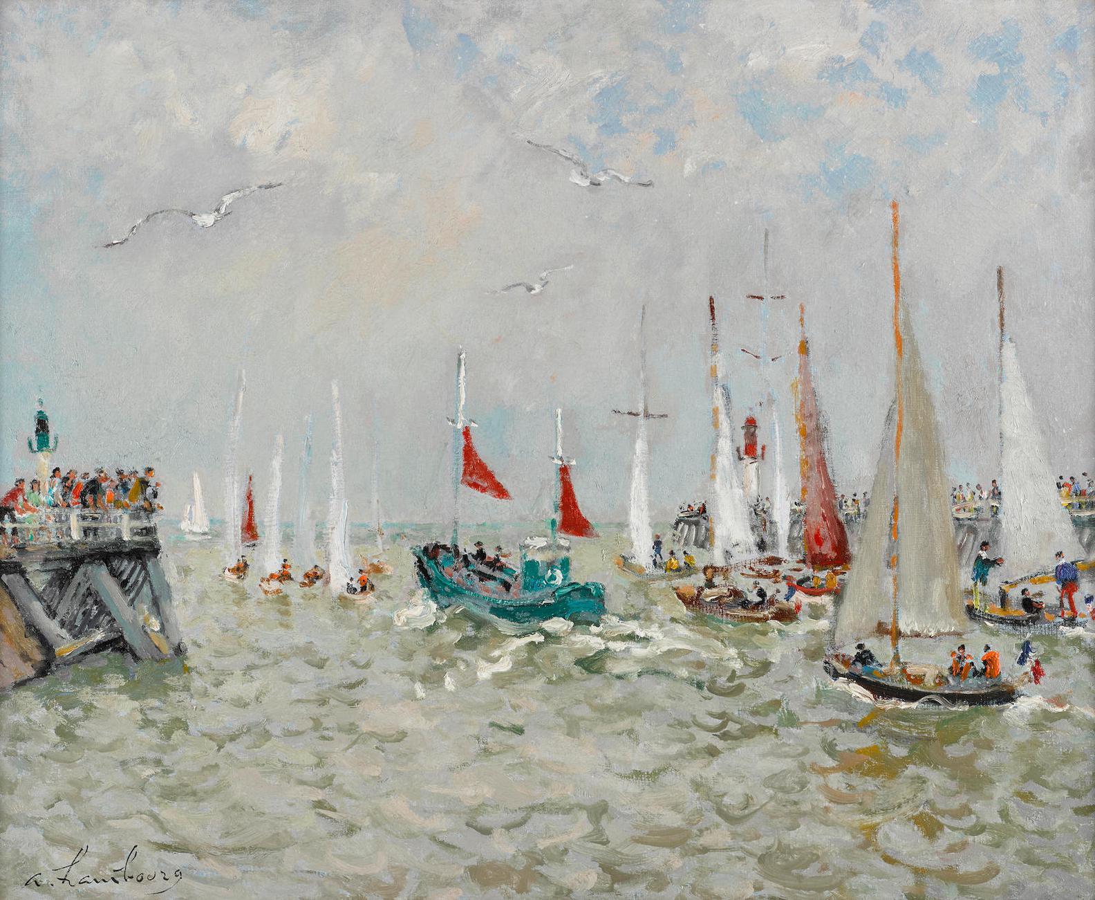 Andre Hambourg-Le Bateau De Peche Vert Aux Voiles Rouge-