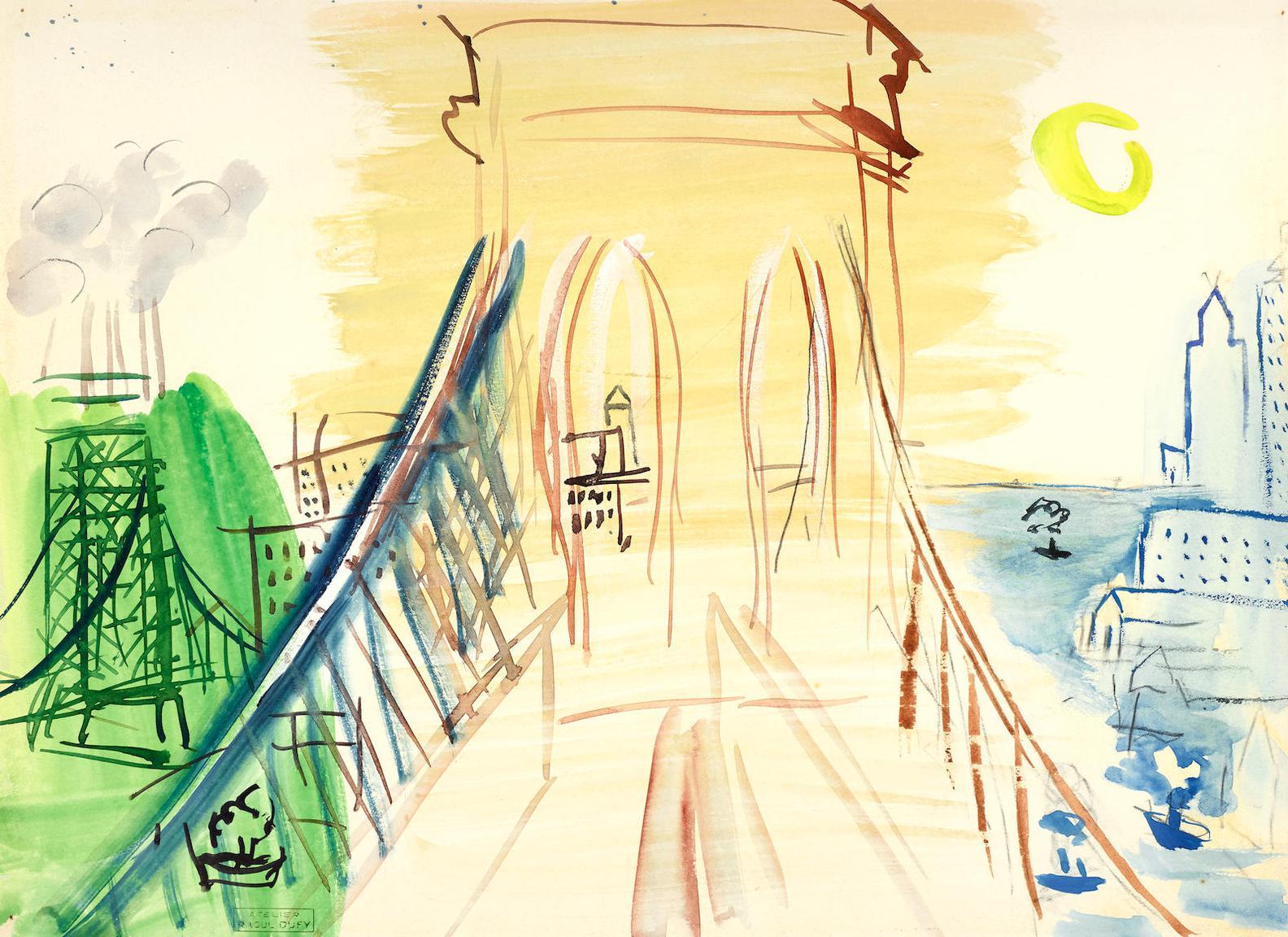 Raoul Dufy-Le Pont De Brooklyn-1946