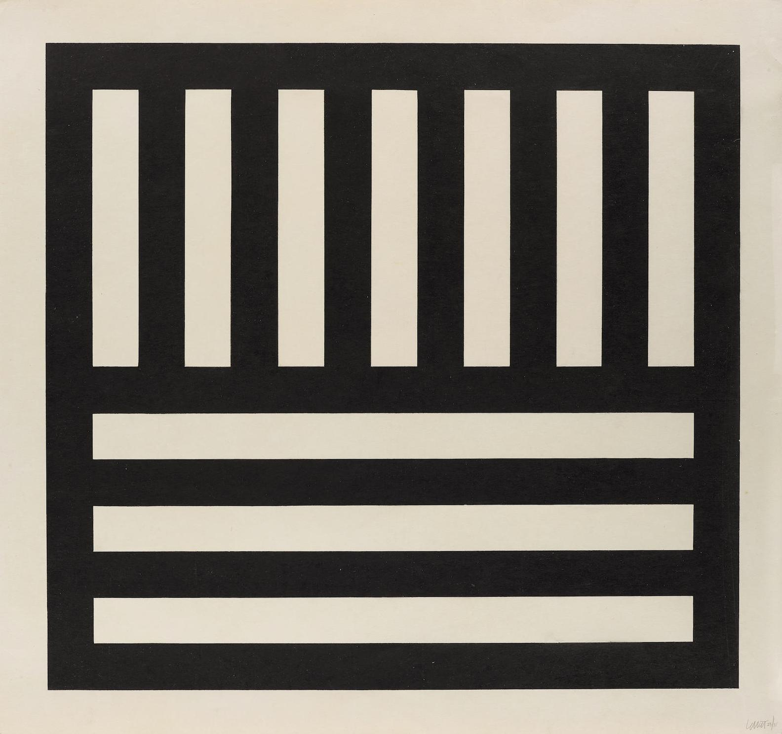 Sol LeWitt-Black Blands In Two Directions; From Brooklyn Academy Of Music Artists Print Portfolio III [B.A.M. III]-1991