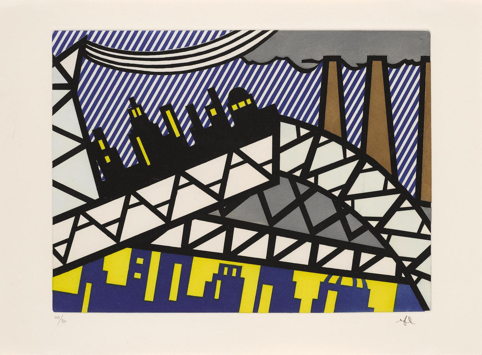 Roy Lichtenstein-Illustration For Bayonne En Entrant Dans Nyc, From La Nouvelle Chute De Lamerique  (Corlett 269)-1992