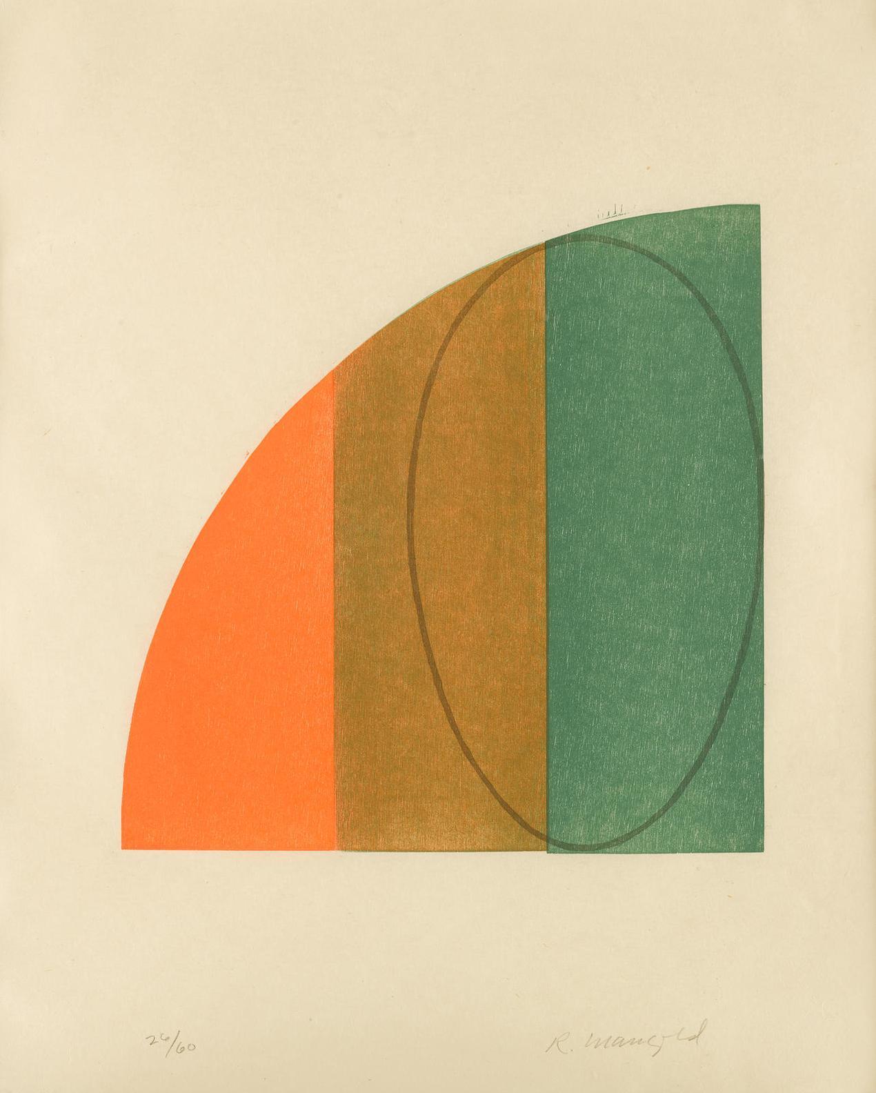 Robert Mangold-Curved Plane/Figure #Ii; Curved Plane/Figure #III-1995