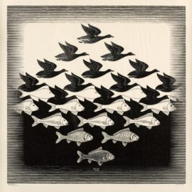 Maurits Cornelis Escher-Sky And Water I (Lucht En Water I) (B. 306)-1938