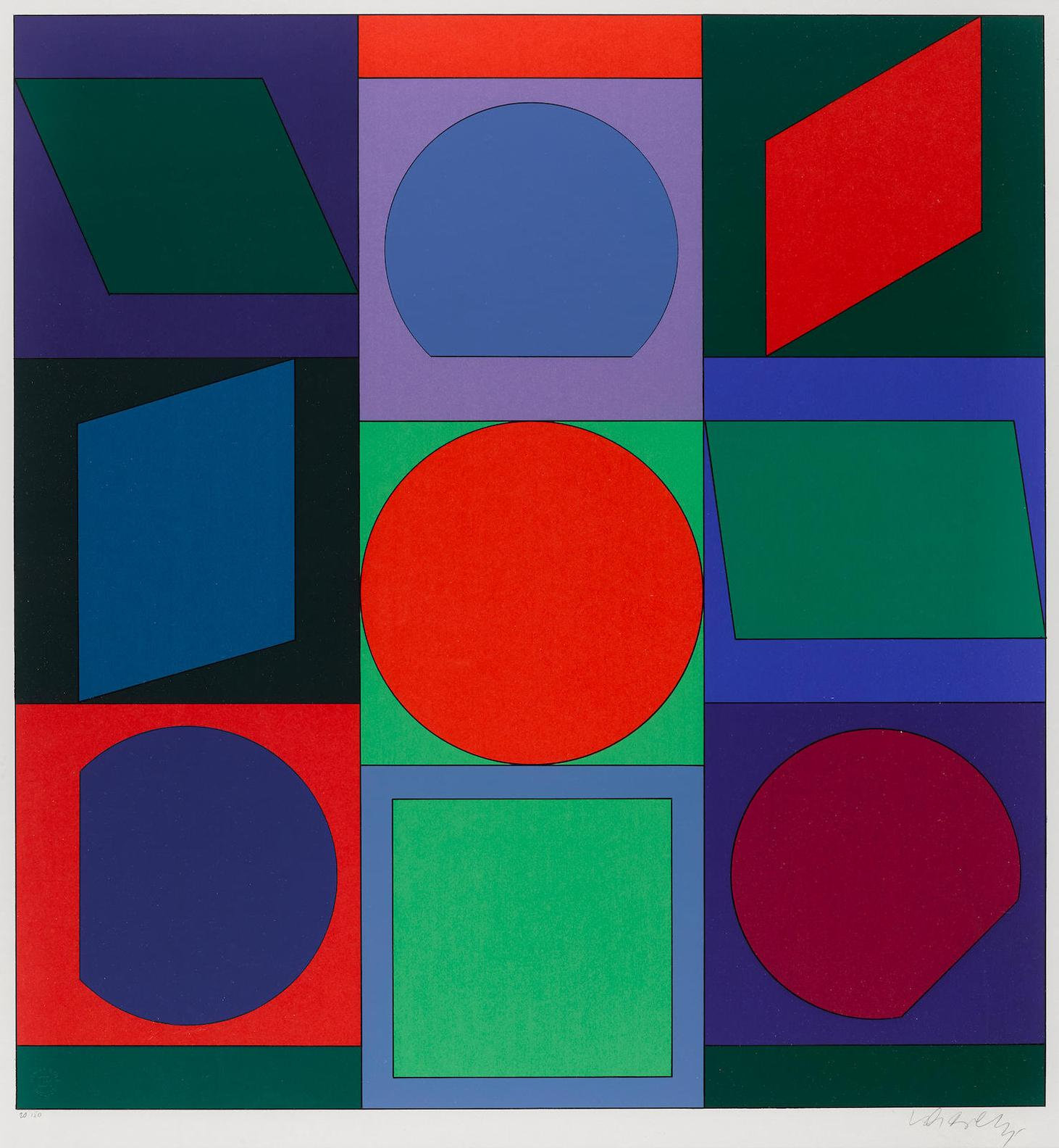 Victor Vasarely-Lapidaire: Two Prints; And Xico: One Print-1973