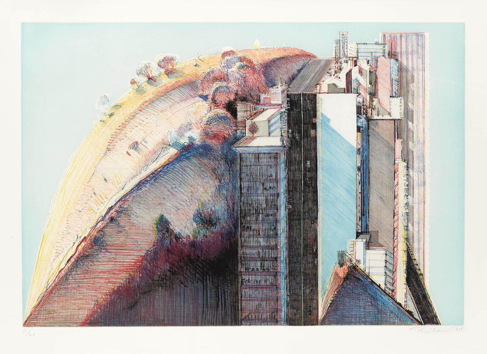 Wayne Thiebaud-Country City-1988