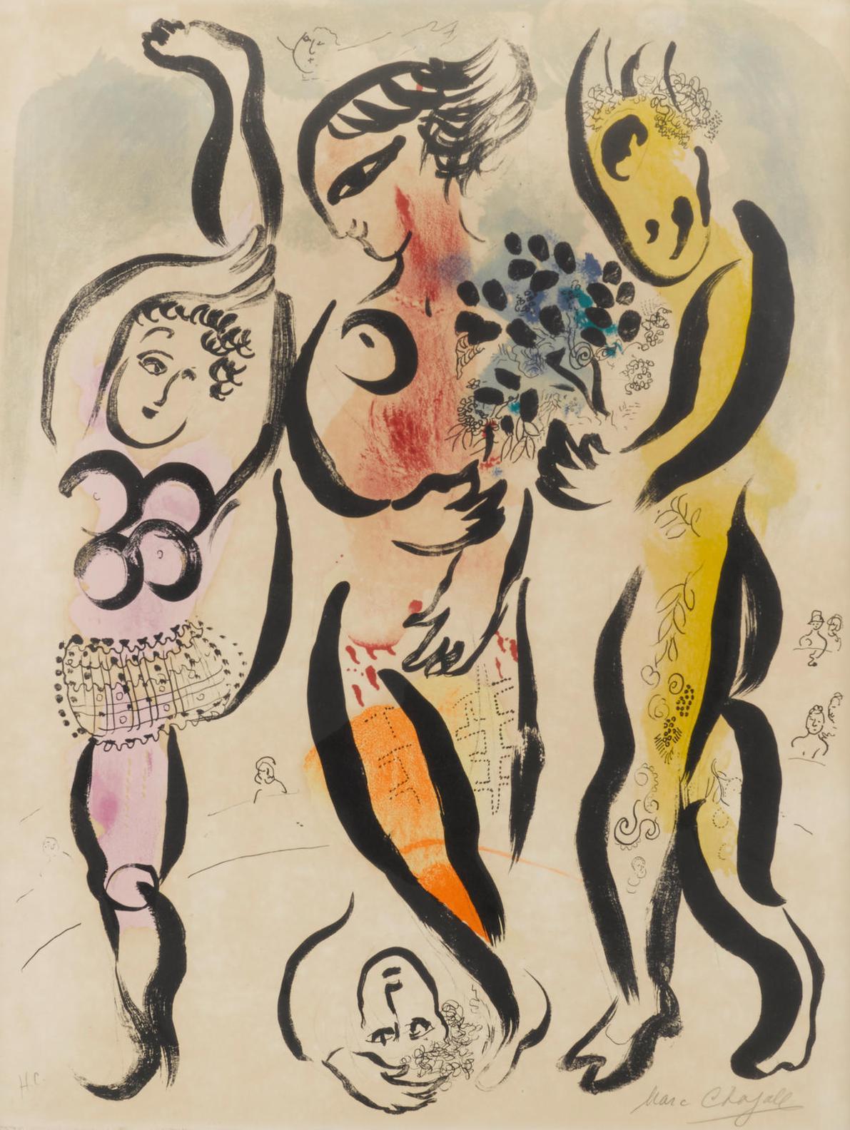 Marc Chagall-Les Trois Acrobates (M. 169)-1956